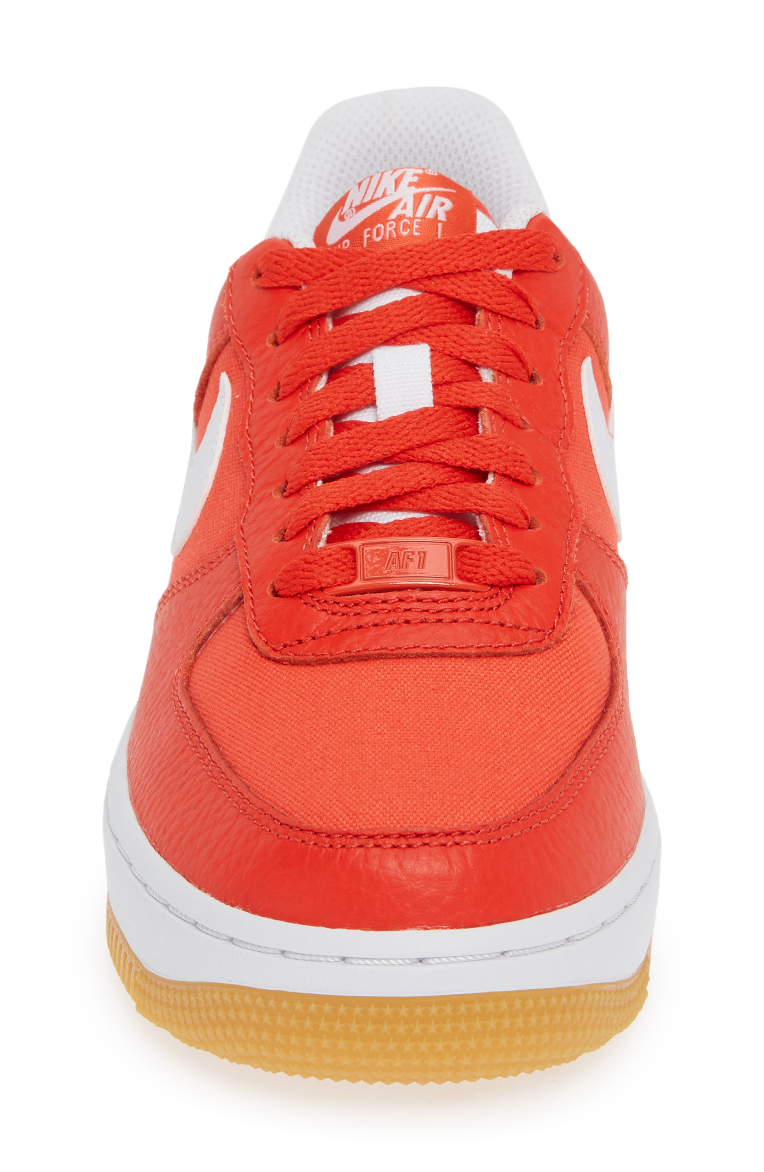 Air Force 1 '07 Premium Sneaker,                             Alternate thumbnail 4, color,                             RED/ WHITE/ LIGHT BROWN