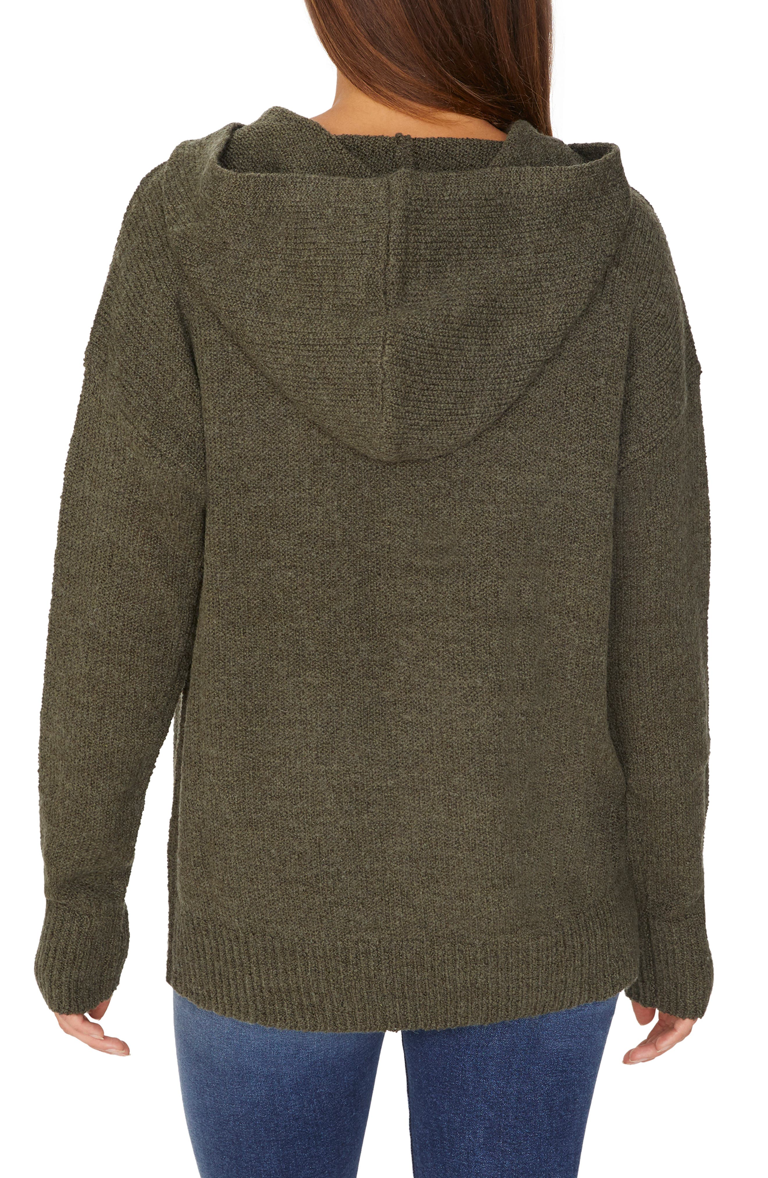 Sunday Morning Wool Blend Sweater Hoodie,                             Alternate thumbnail 2, color,                             HEATHER PROSPERITY GREEN