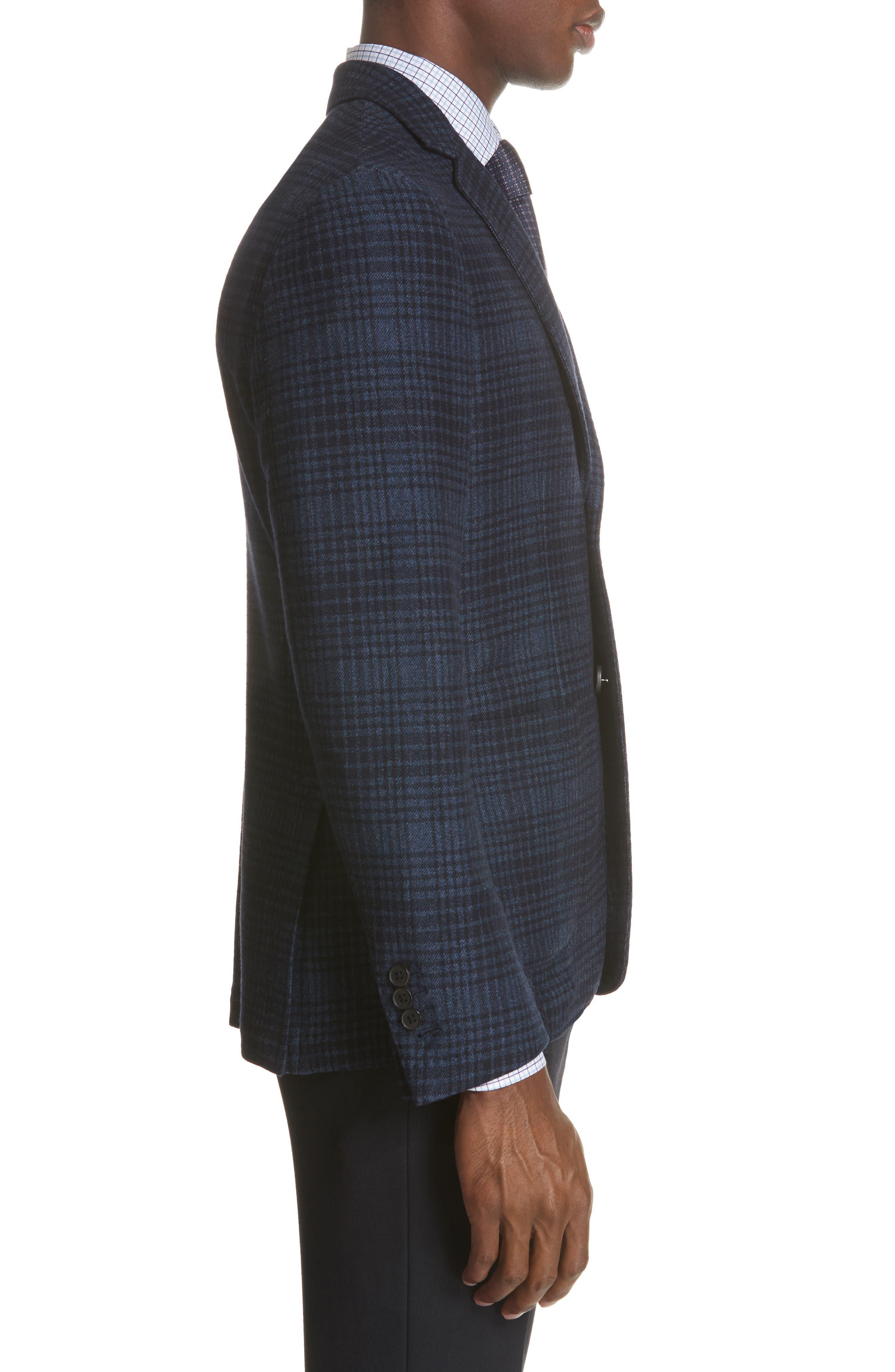 Slim Fit Plaid Wool & Cotton Sport Coat,                             Alternate thumbnail 3, color,                             400