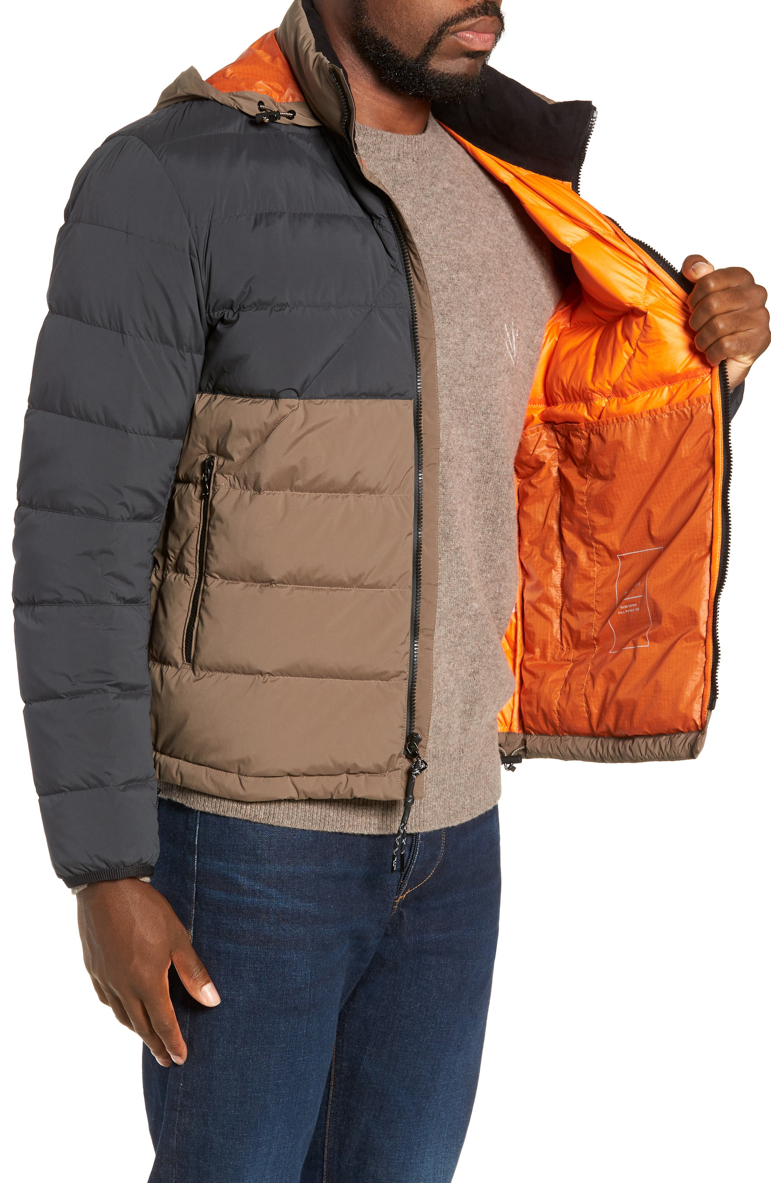 Regular Fit Wes Packable Down Jacket,                             Alternate thumbnail 3, color,                             BLACK/ ARMY