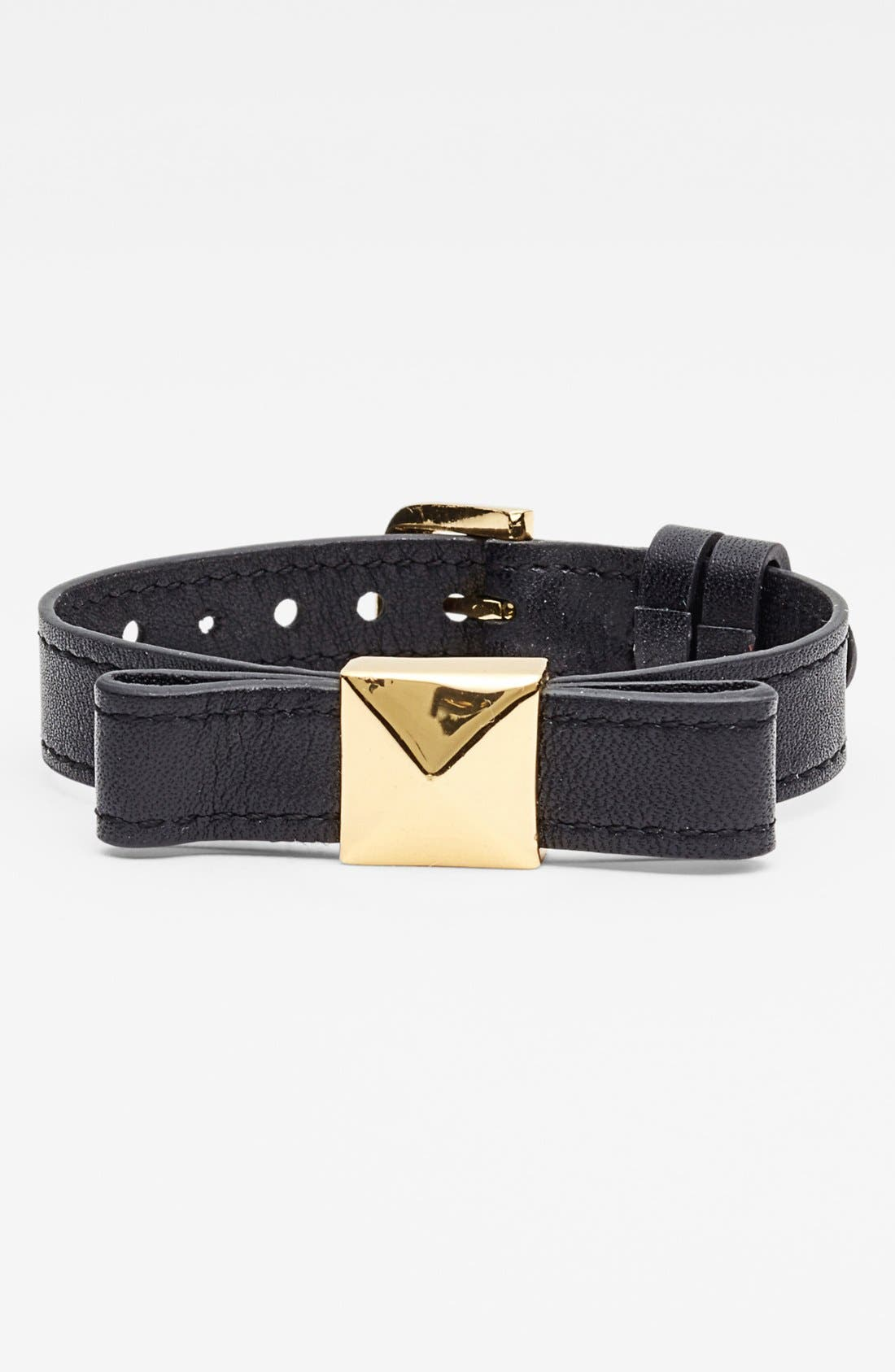 'locked in' leather bow bracelet,                             Main thumbnail 1, color,                             001