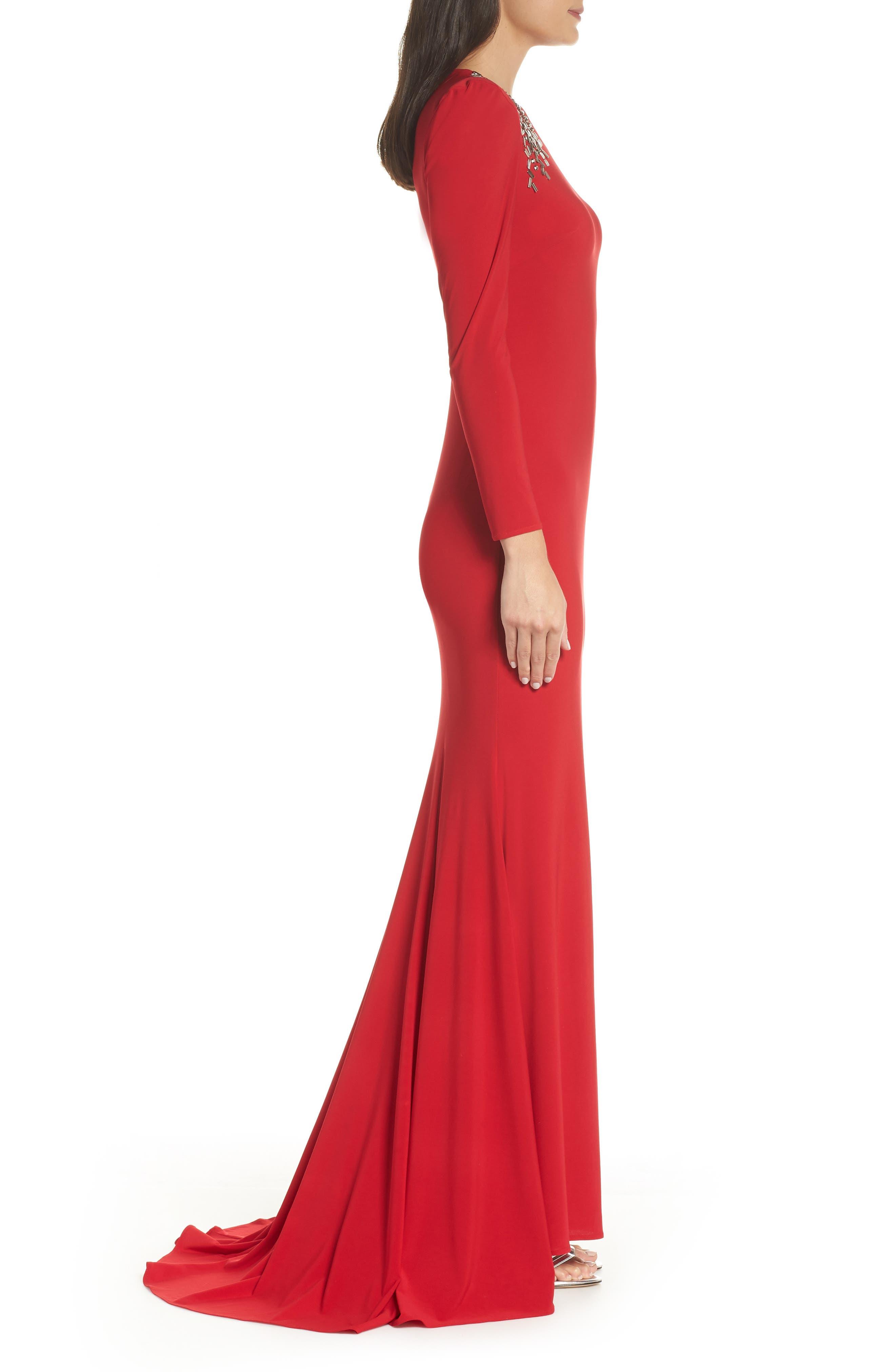 Mac Duggal Embellished Shoulder Jersey Gown,                             Alternate thumbnail 3, color,                             600