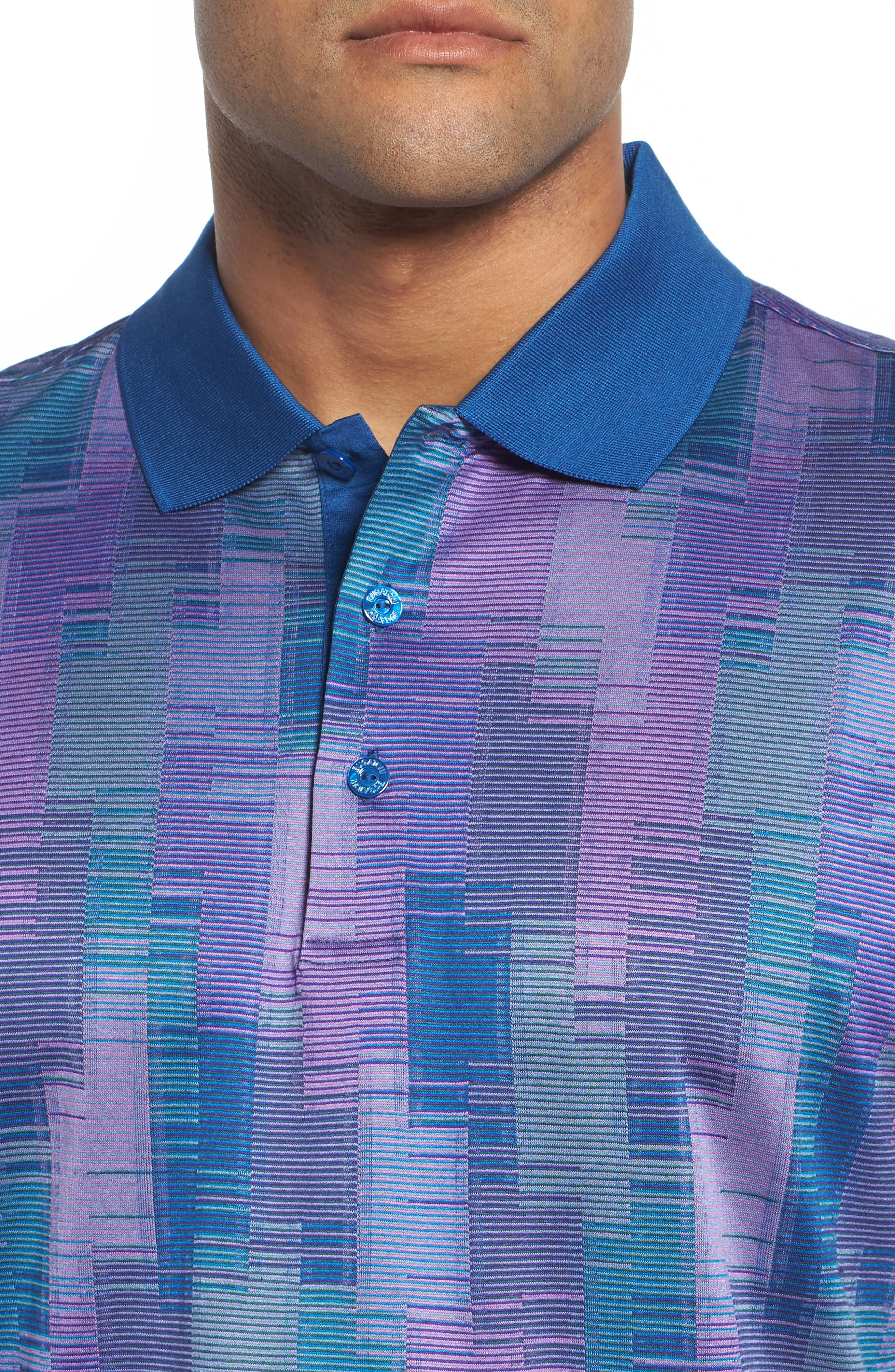 Abstract Stripe Mercerized Cotton Polo,                             Alternate thumbnail 4, color,                             ORCHID