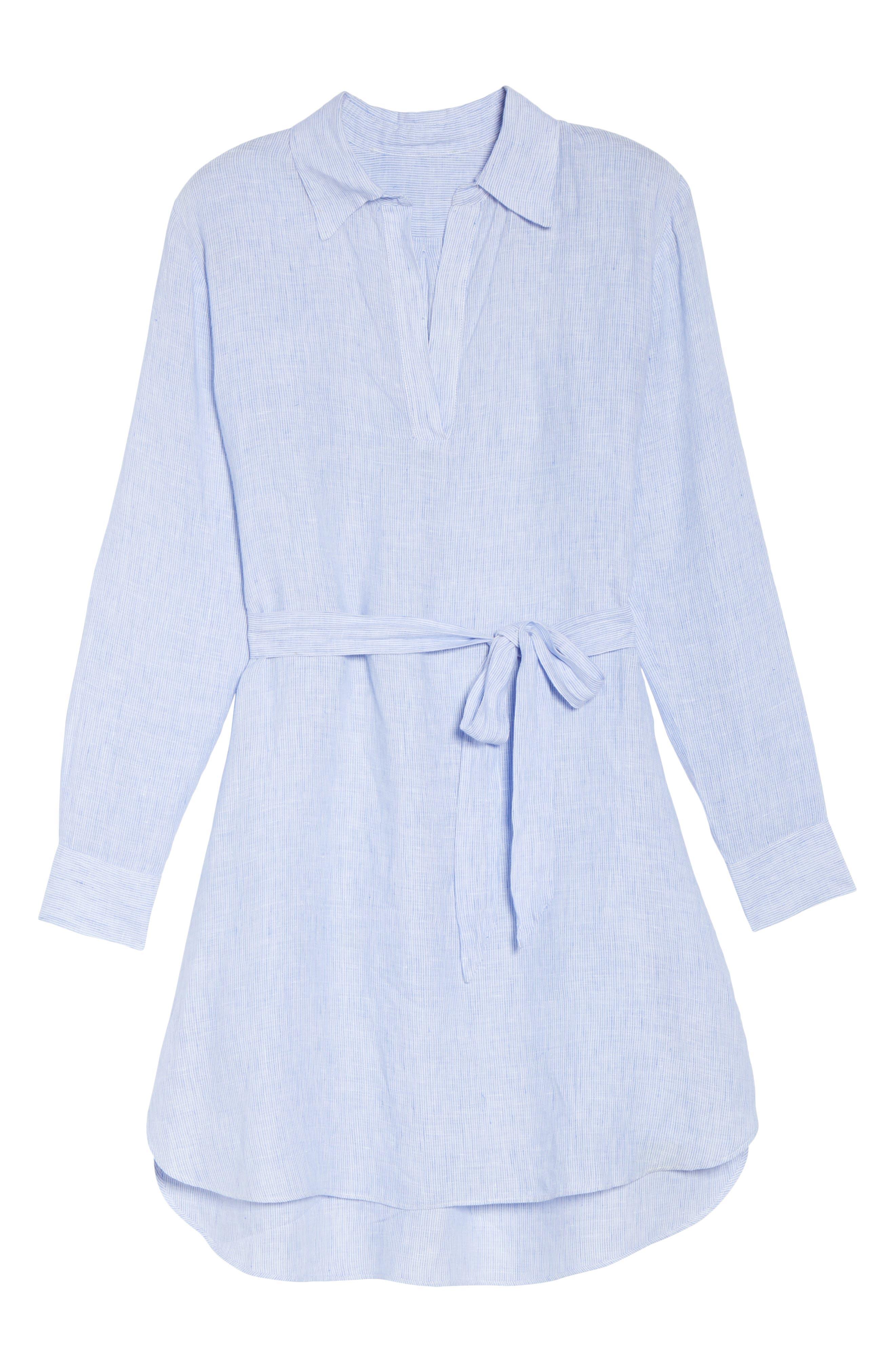 Linen Shirtdress,                             Alternate thumbnail 6, color,                             400