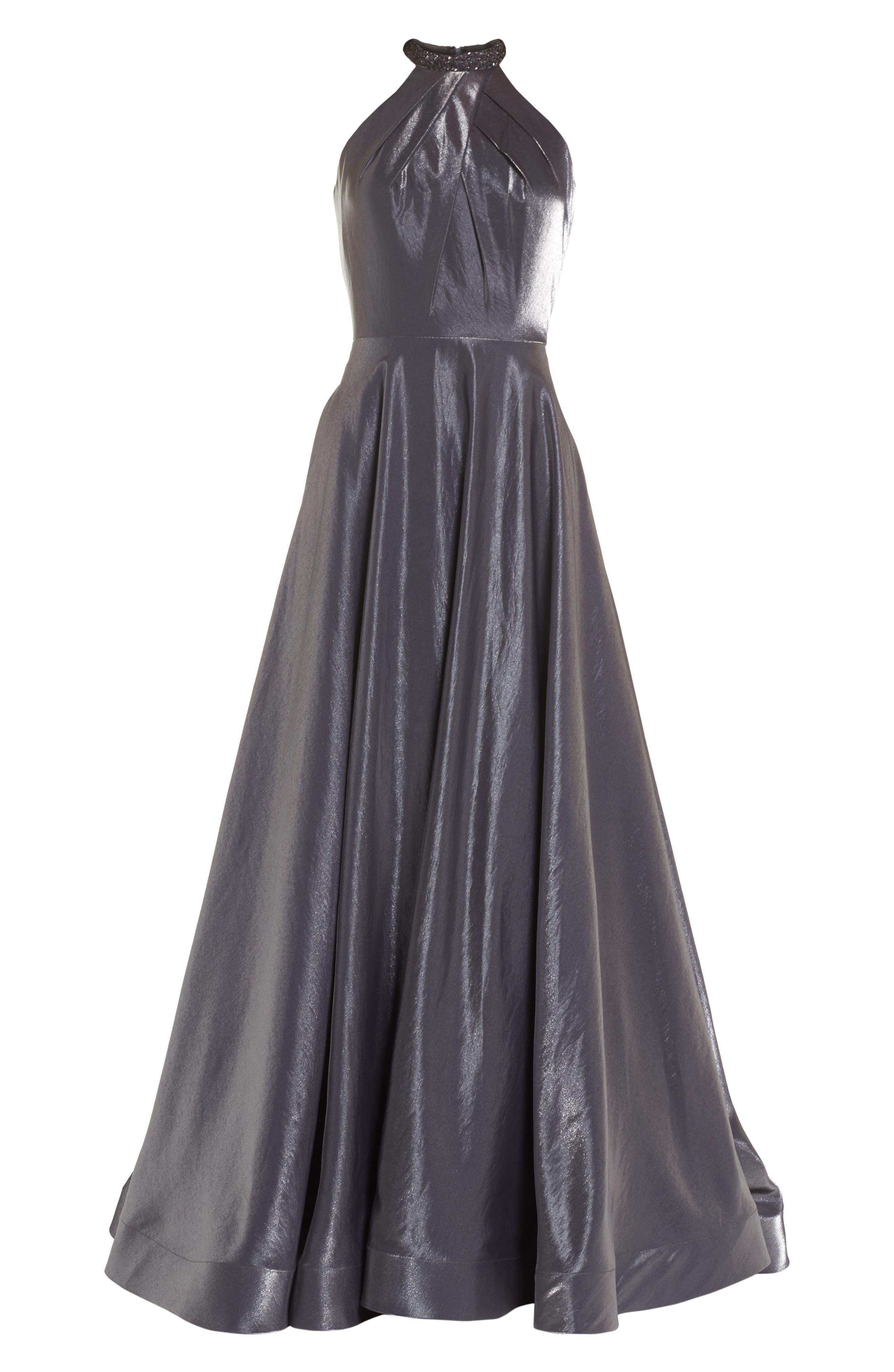Beaded Halter Neck A-Line Gown,                             Alternate thumbnail 6, color,                             PLATINUM