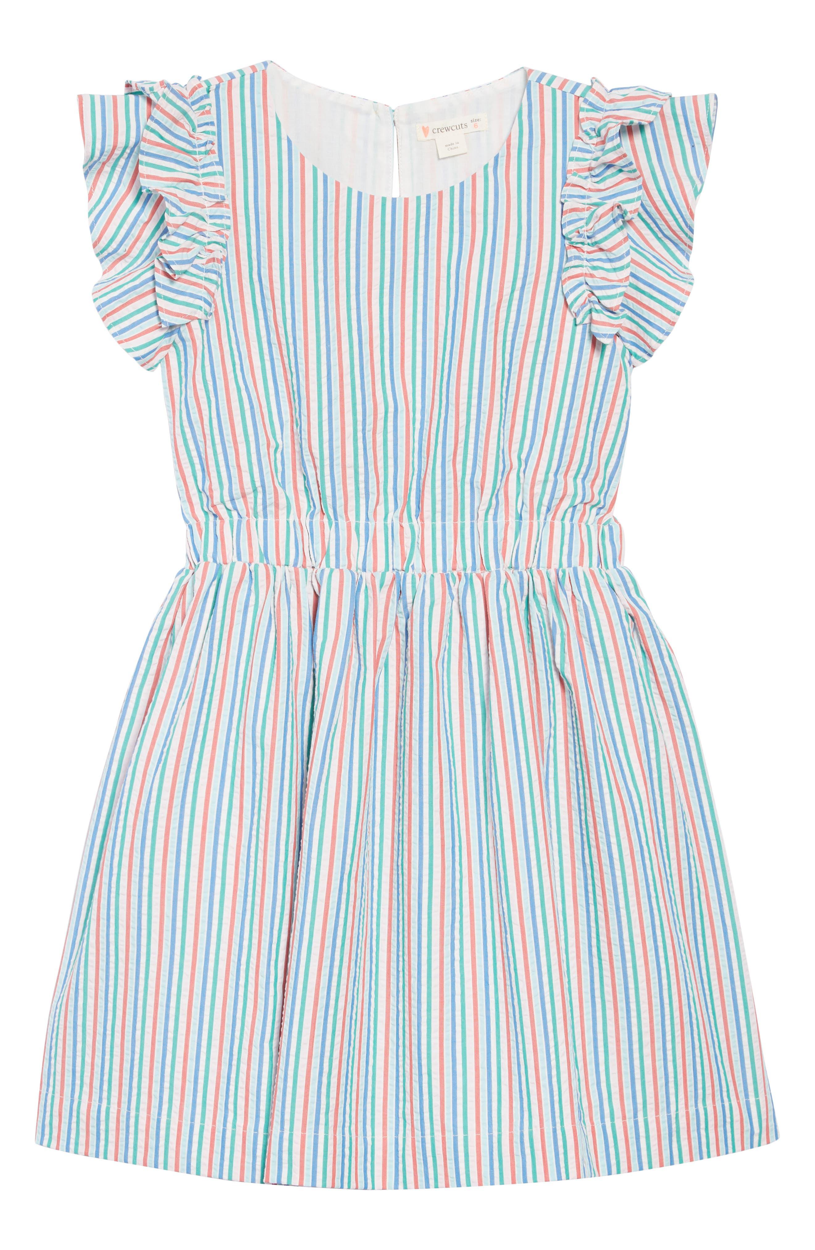 CREWCUTS BY J.CREW Kate Ruffle Seersucker Dress, Main, color, IVORY BLUE MULTI