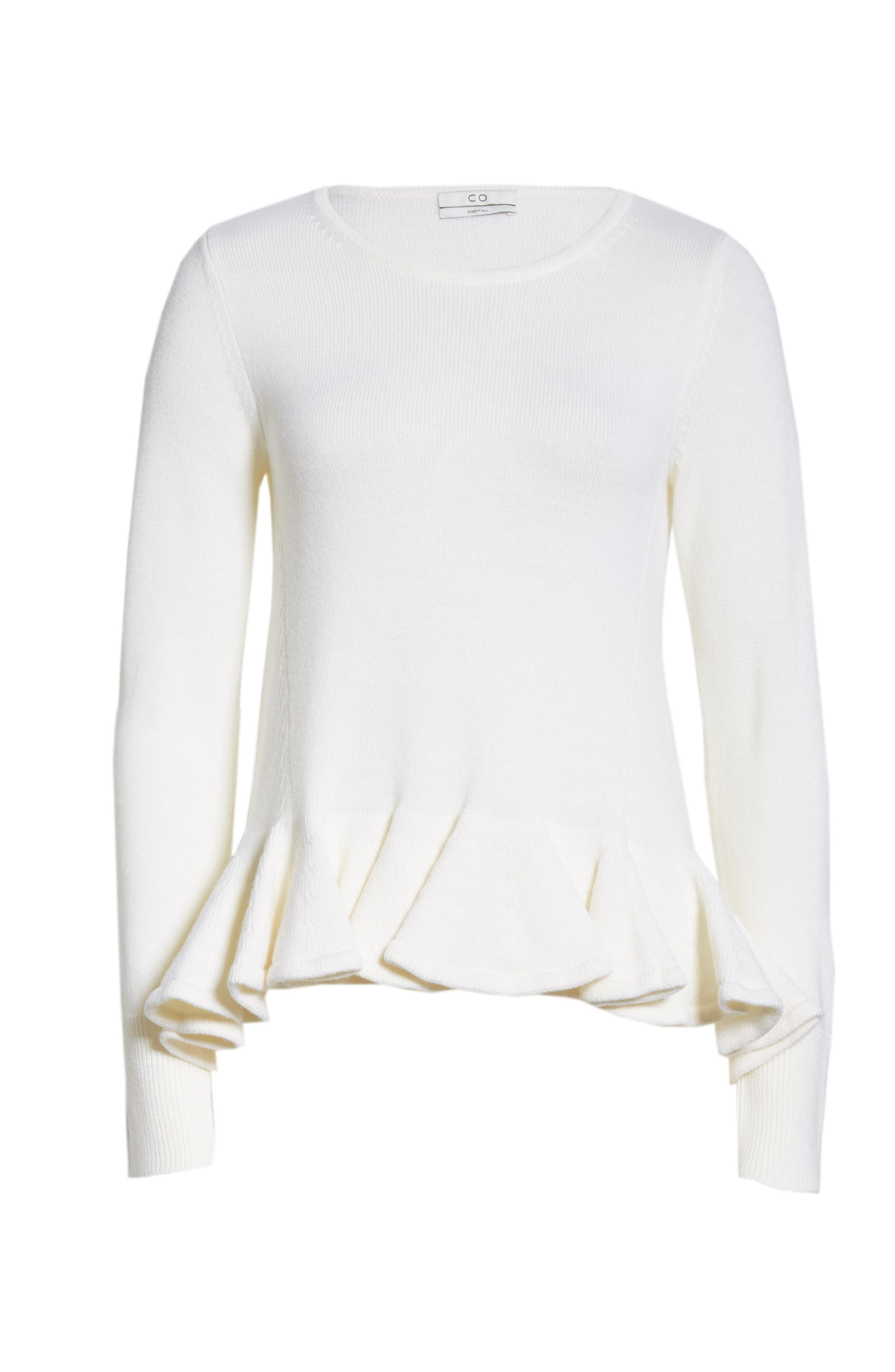Ruffle Peplum Wool Sweater,                             Alternate thumbnail 6, color,                             IVORY