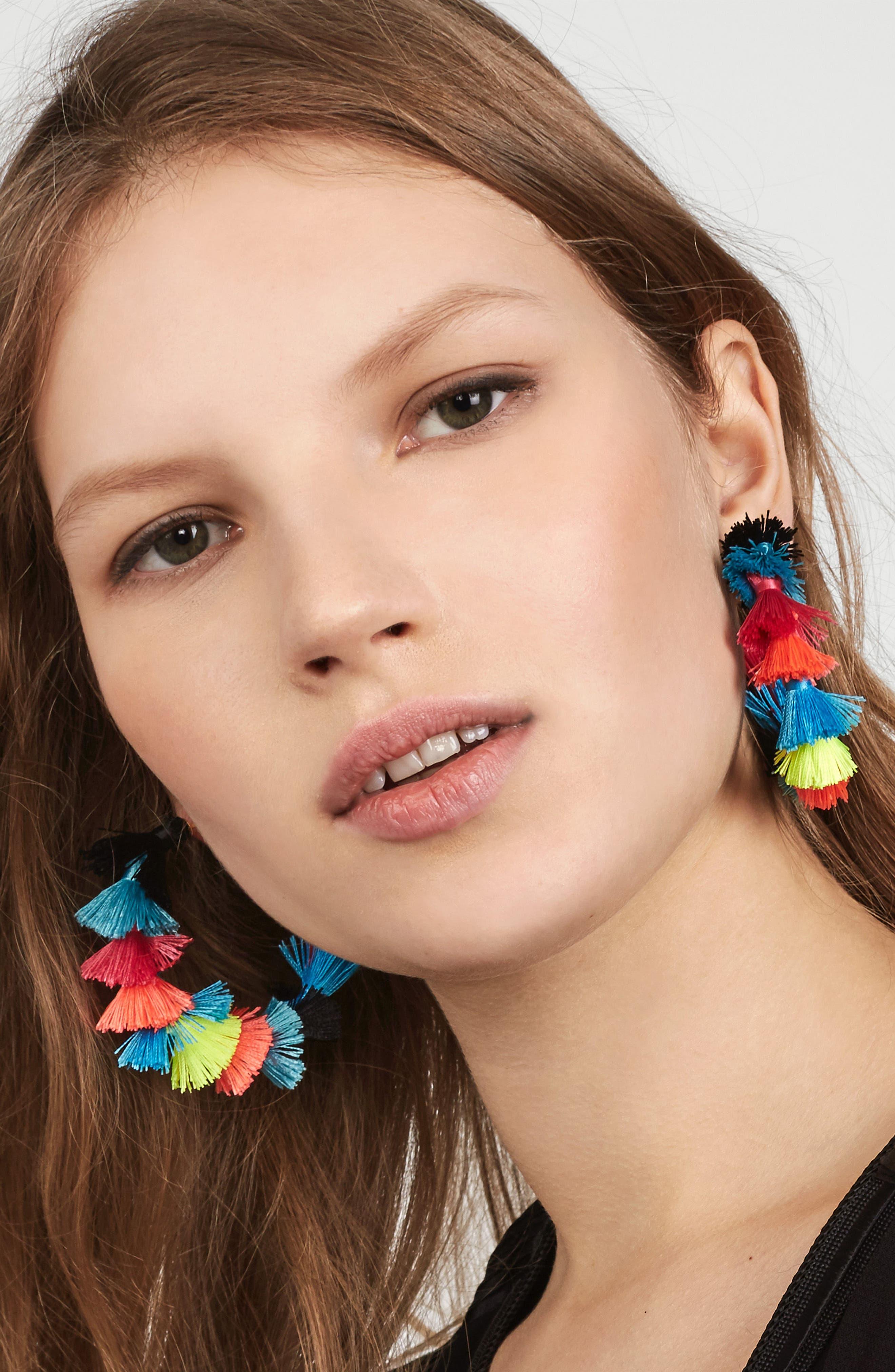 Santina Tasseled Hoop Earrings,                             Alternate thumbnail 2, color,