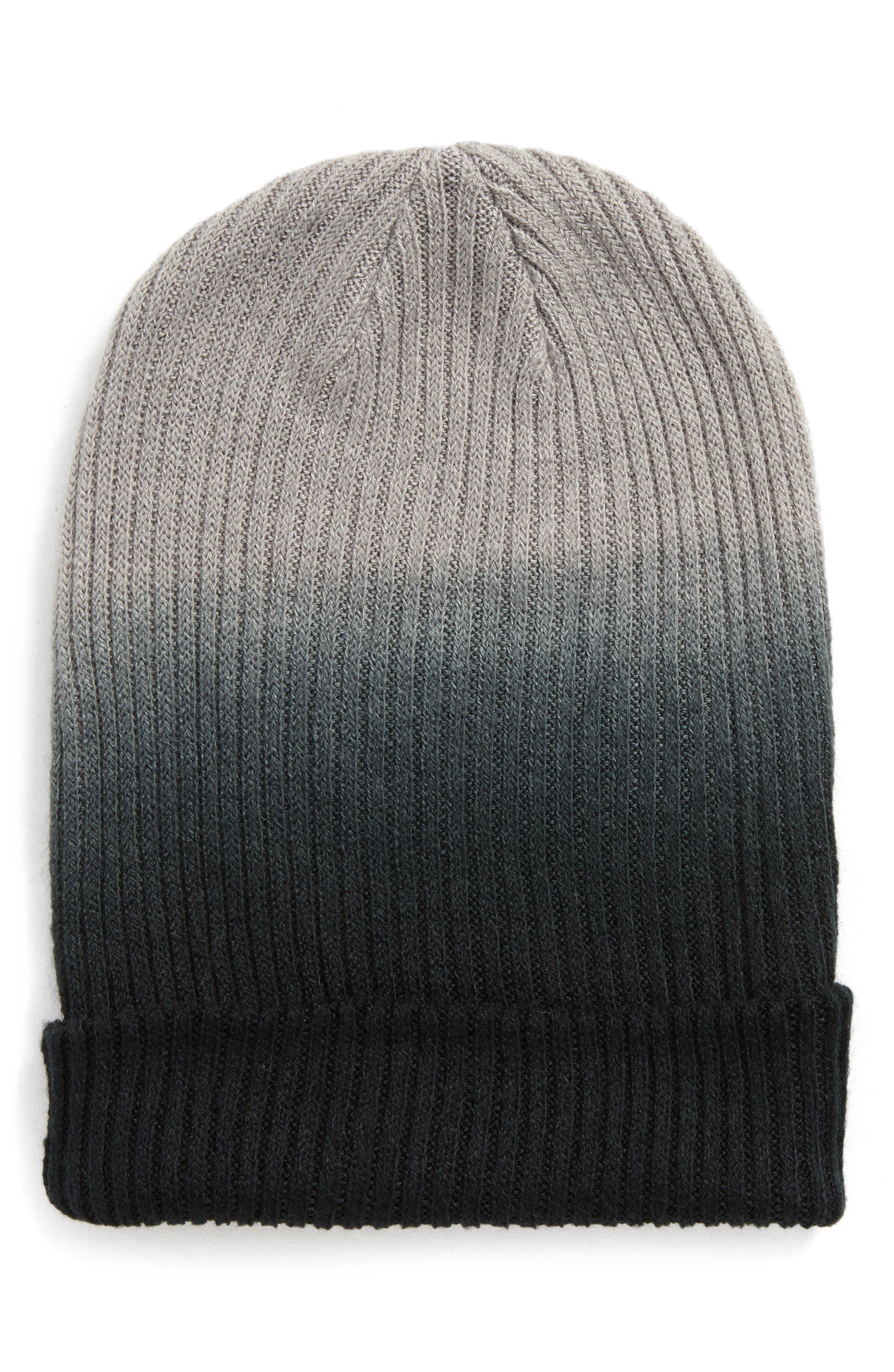 Ombré Knit Beanie,                             Main thumbnail 1, color,                             001