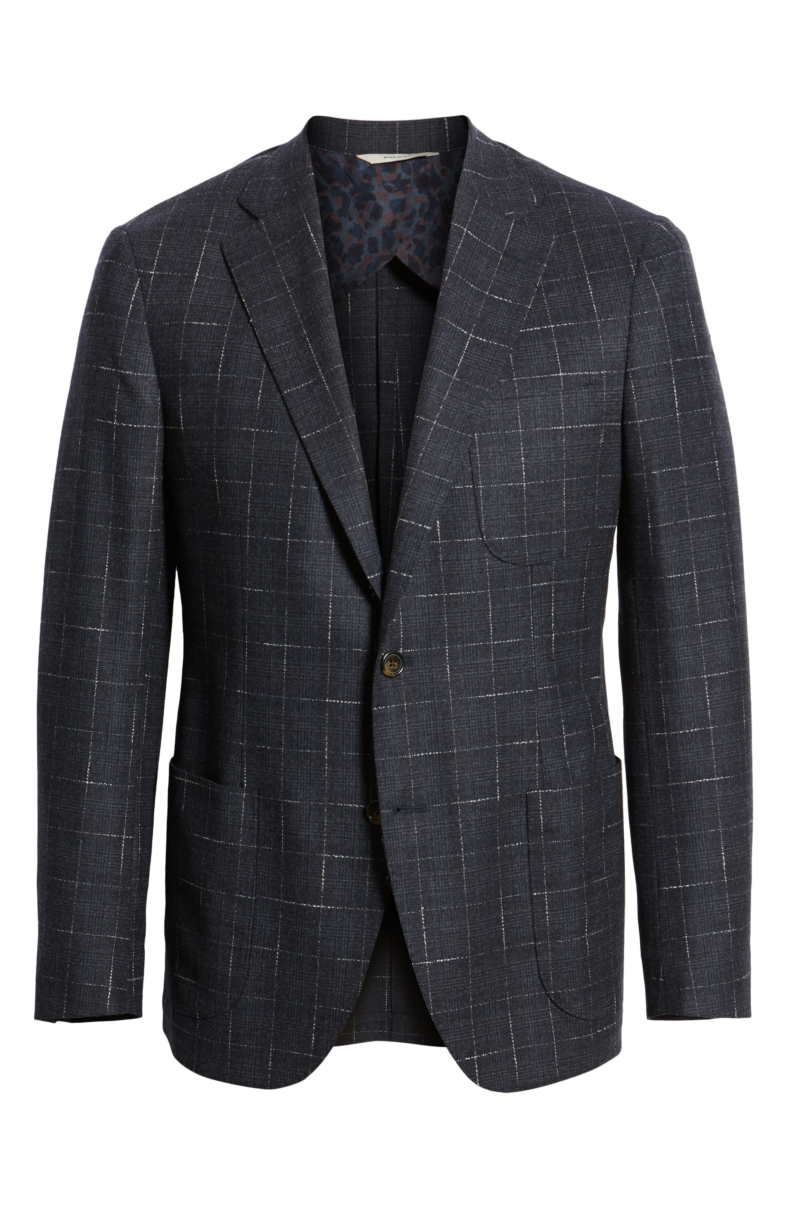 Trim Fit Stretch Plaid Wool Sport Coat,                             Alternate thumbnail 5, color,                             NAVY