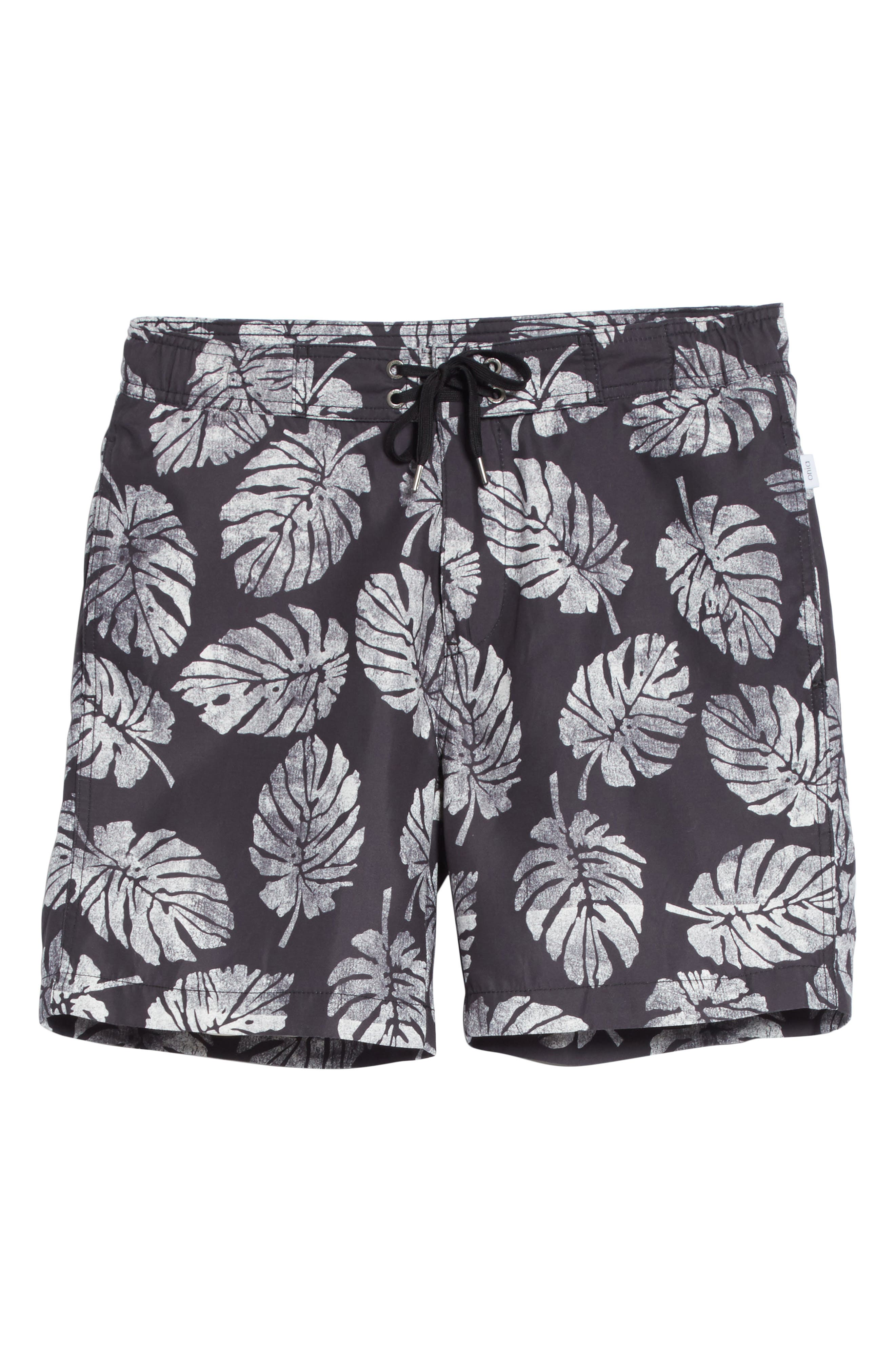 Palm Stamps Alek Board Shorts,                             Alternate thumbnail 6, color,                             CHARCOAL/ WHITE