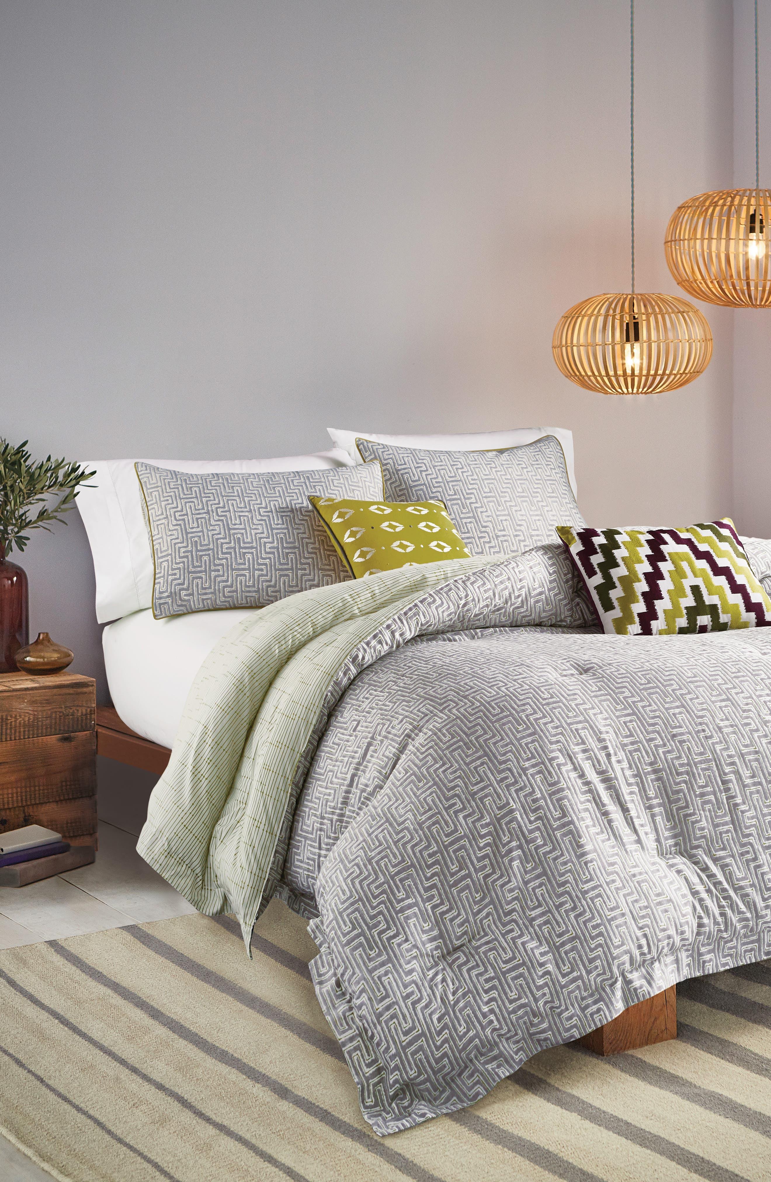 BEDECK,                             Koba Comforter, Sham & Accent Pillow Set,                             Main thumbnail 1, color,                             LIGHT GREY