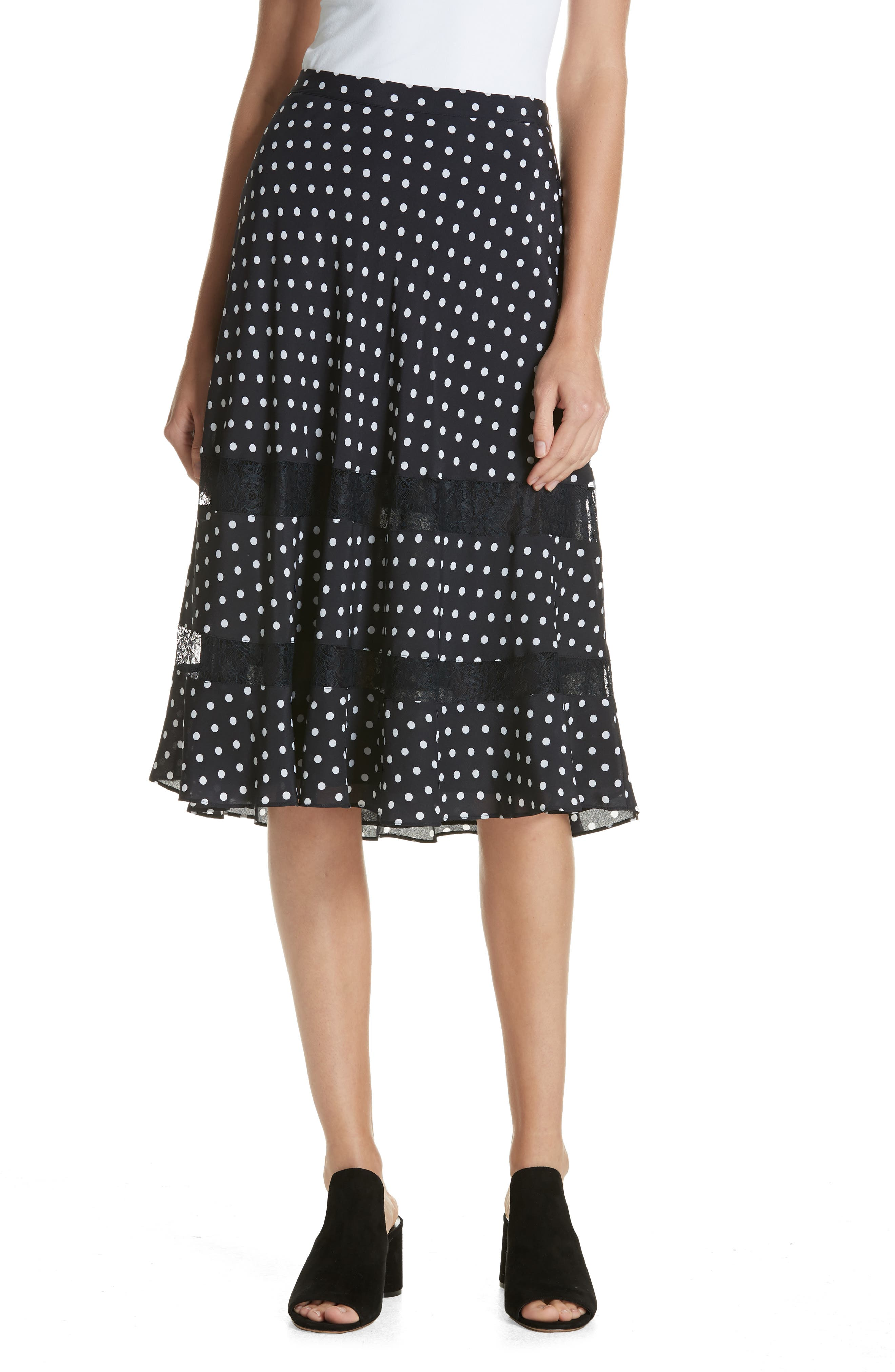 Lace Trim Dot Silk Skirt, Main, color, NAVY NIGHT PETITE DOT