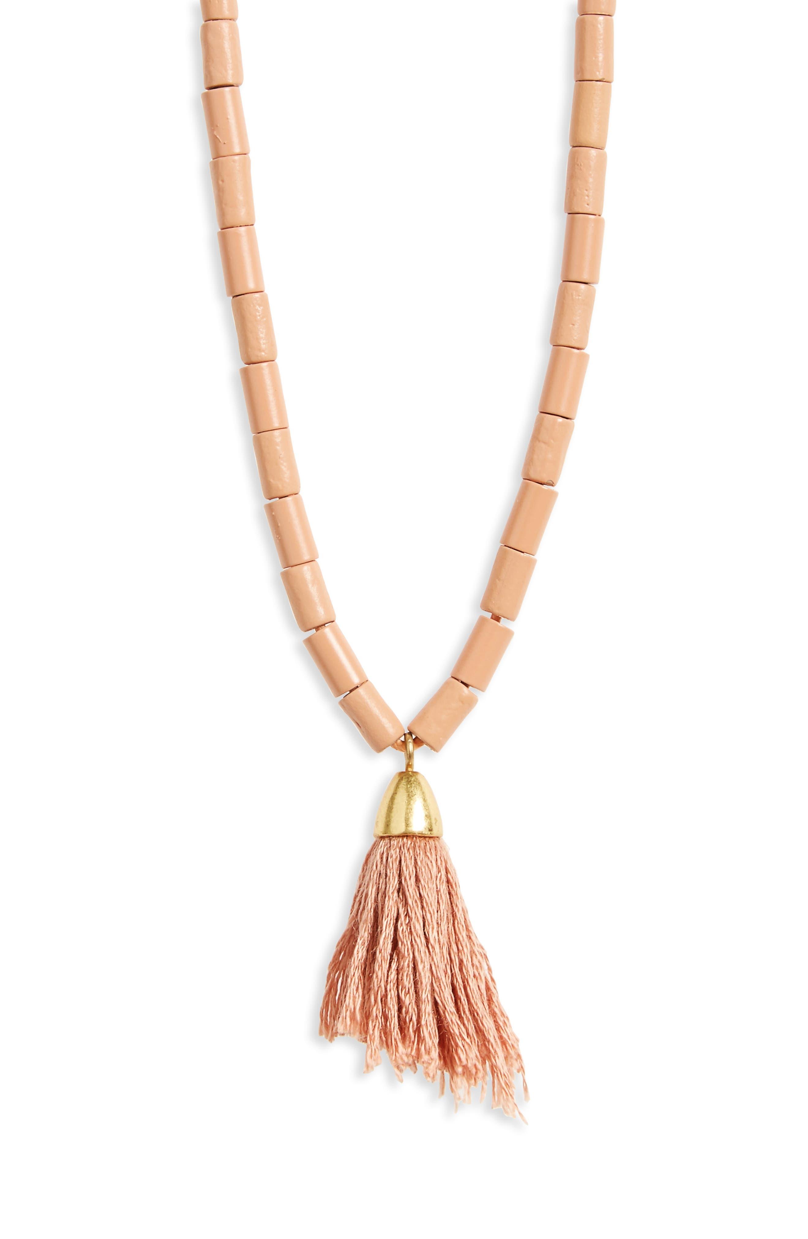 Adjustable Bead Tassel Necklace,                             Alternate thumbnail 4, color,