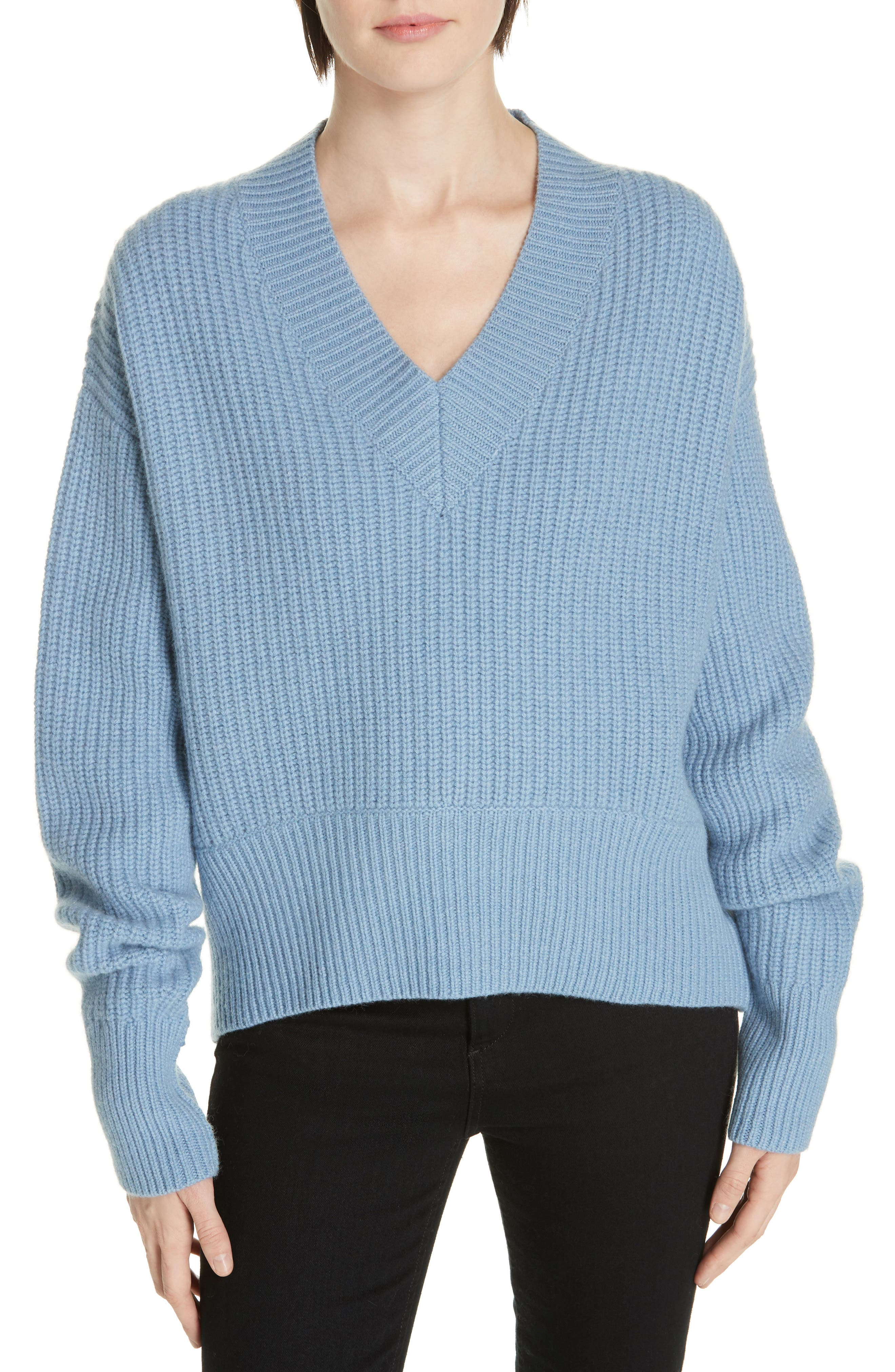 V-Neck Wool & Cashmere Sweater,                             Main thumbnail 1, color,                             BLUE COLONY