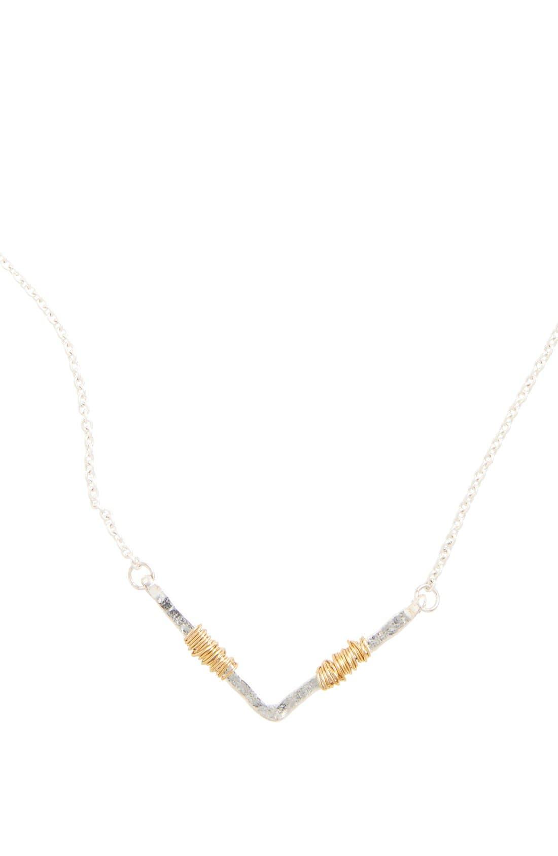 Wire Wrap Chevron Pendant Necklace,                             Alternate thumbnail 4, color,