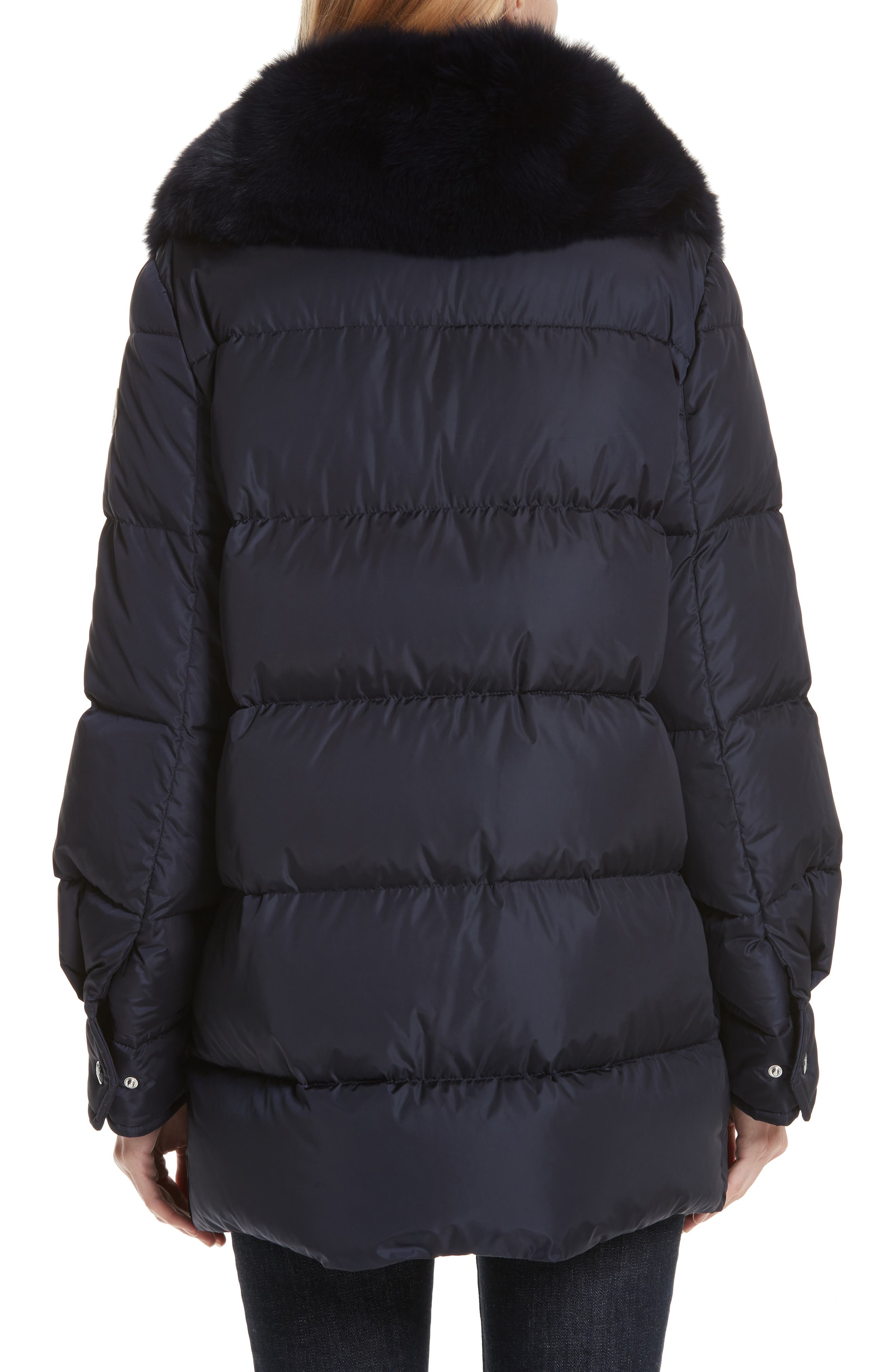 Mesange Quilted Down Coat with Removable Genuine Fox Fur Collar,                             Alternate thumbnail 2, color,                             NAVY