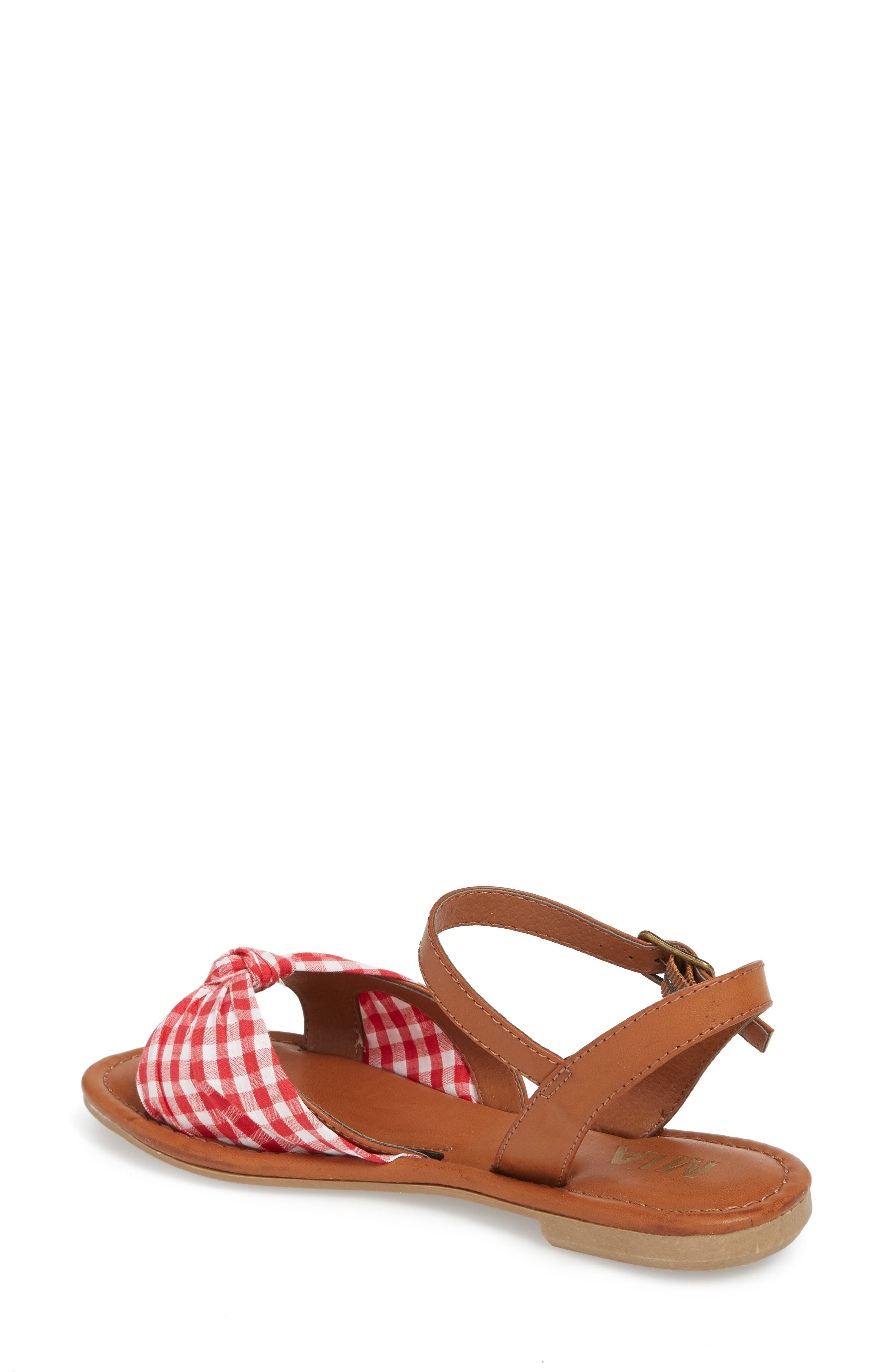 Neala Bow Sandal,                             Alternate thumbnail 2, color,                             RED/ WHITE FABRIC