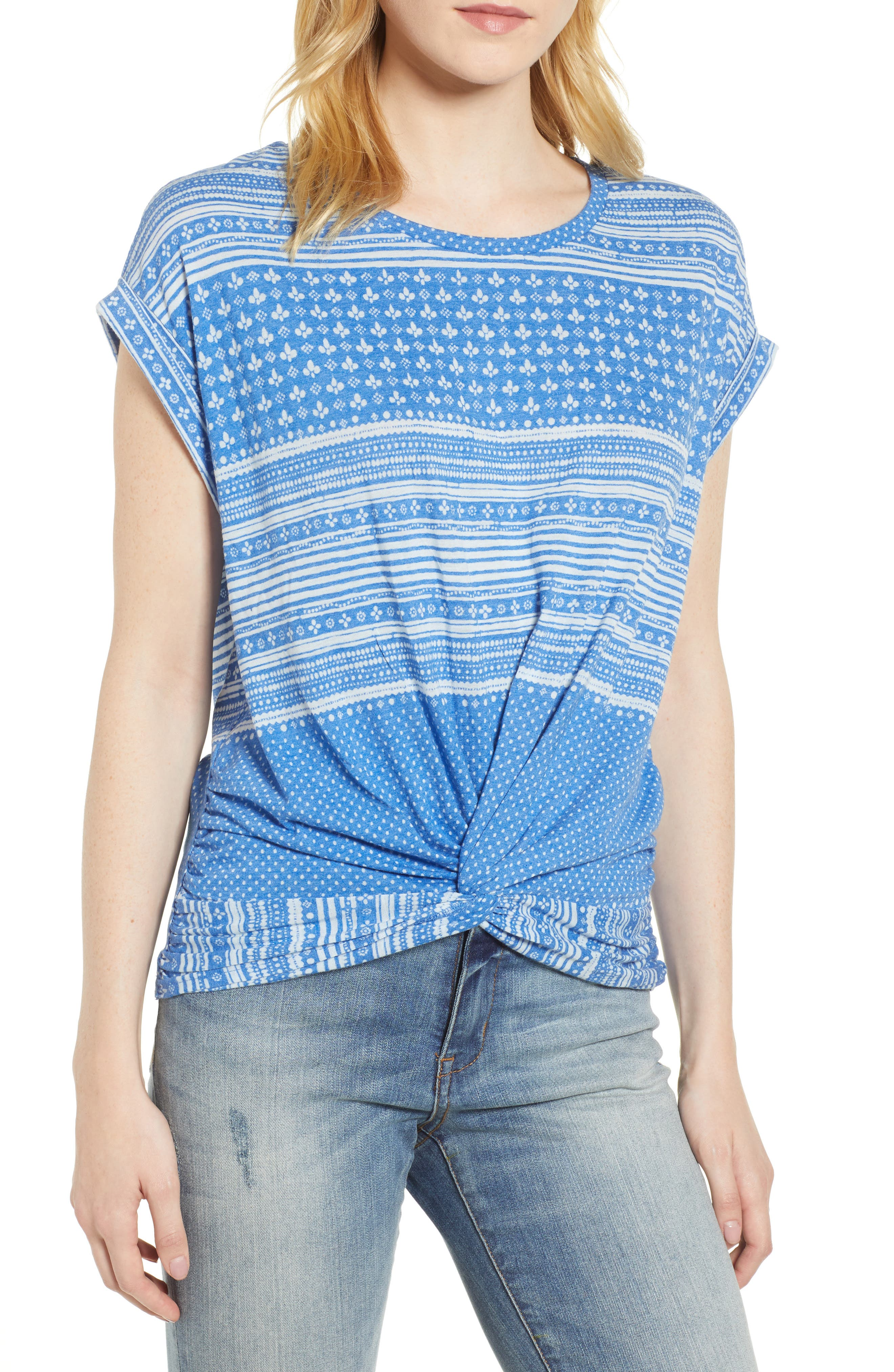 Twist Front Print Tee,                         Main,                         color,