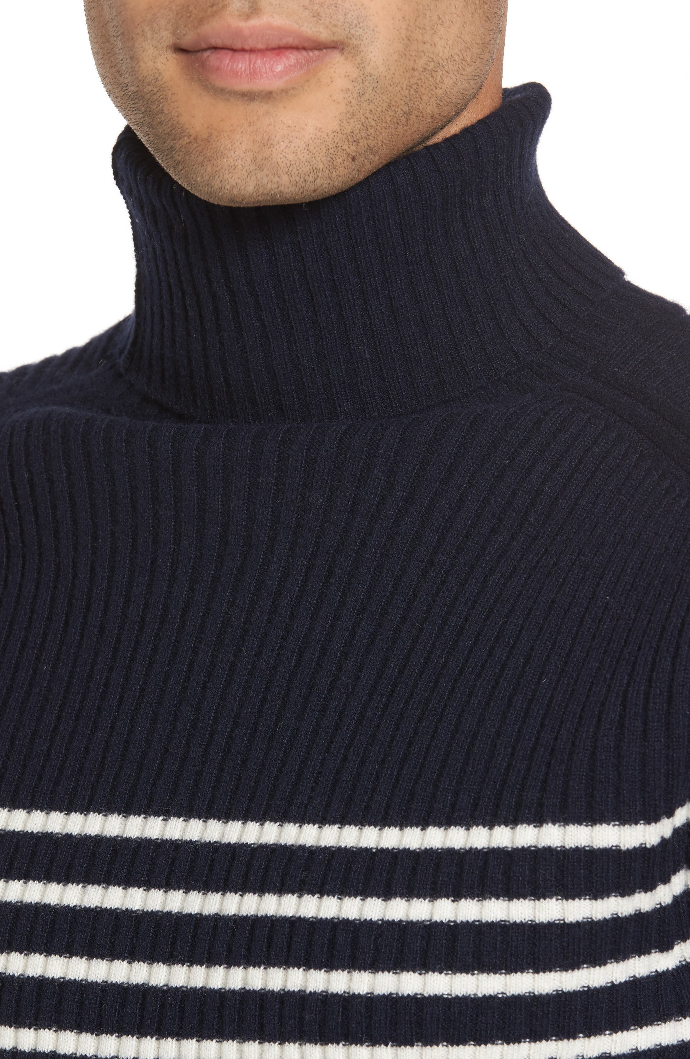 Regular Fit Breton Stripe Cashmere Turtleneck Sweater,                             Alternate thumbnail 8, color,