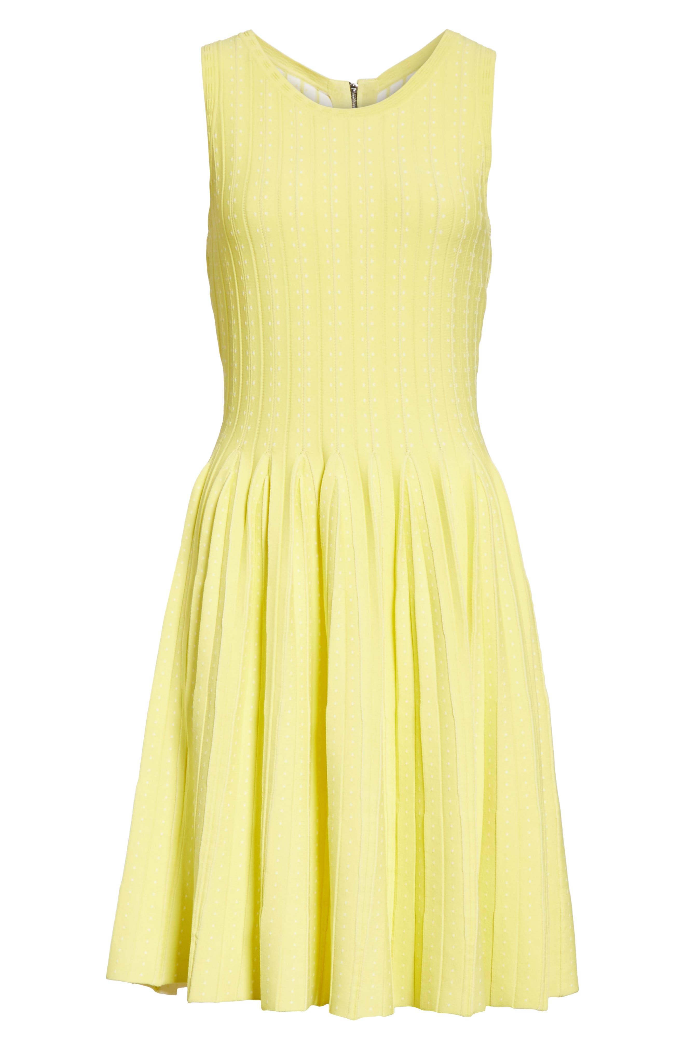 Dot Pleat Fit & Flare Dress,                             Alternate thumbnail 6, color,                             LEMON/ WHITE