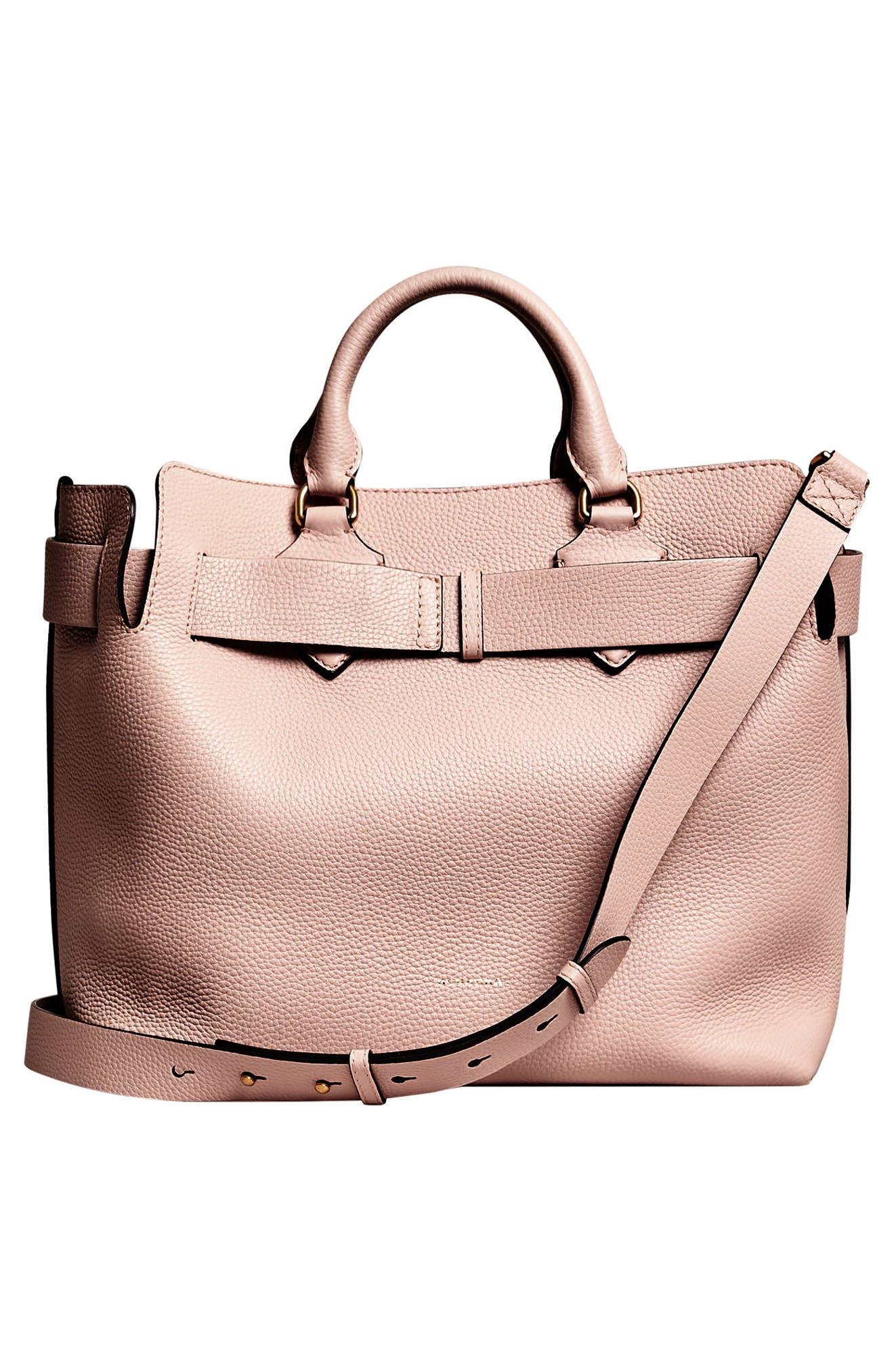 Medium Belt Bag Leather Tote,                             Alternate thumbnail 4, color,                             PALE ASH ROSE