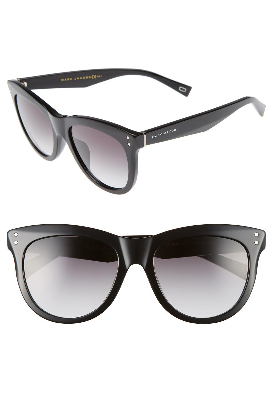MARC JACOBS,                             54mm Sunglasses,                             Main thumbnail 1, color,                             001