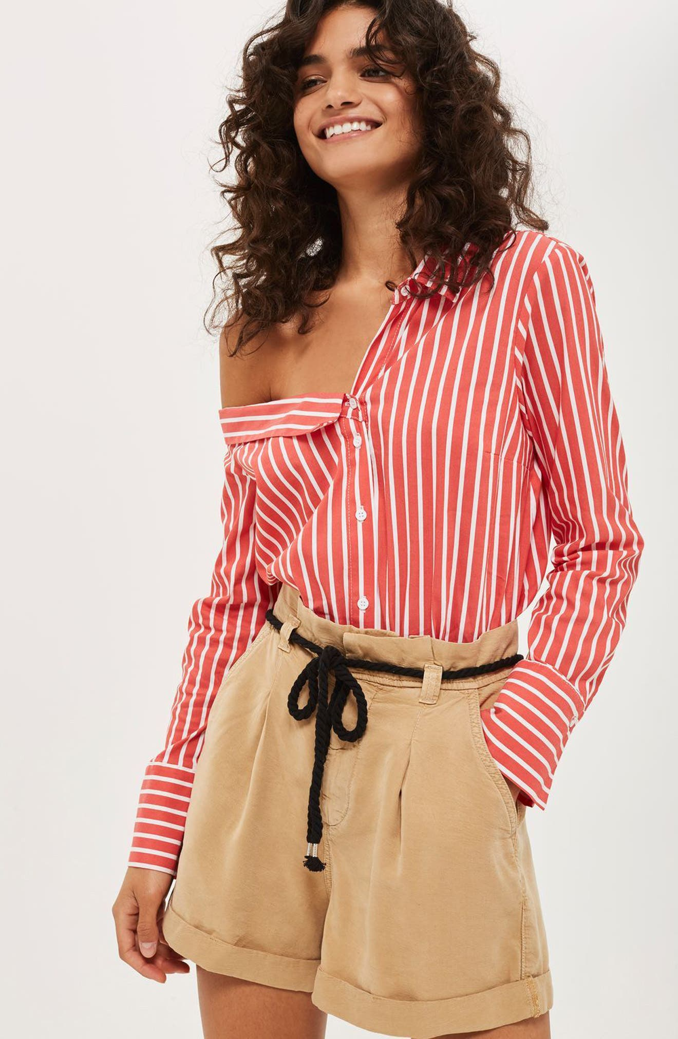 Stripe Off the Shoulder Top,                             Alternate thumbnail 5, color,                             600