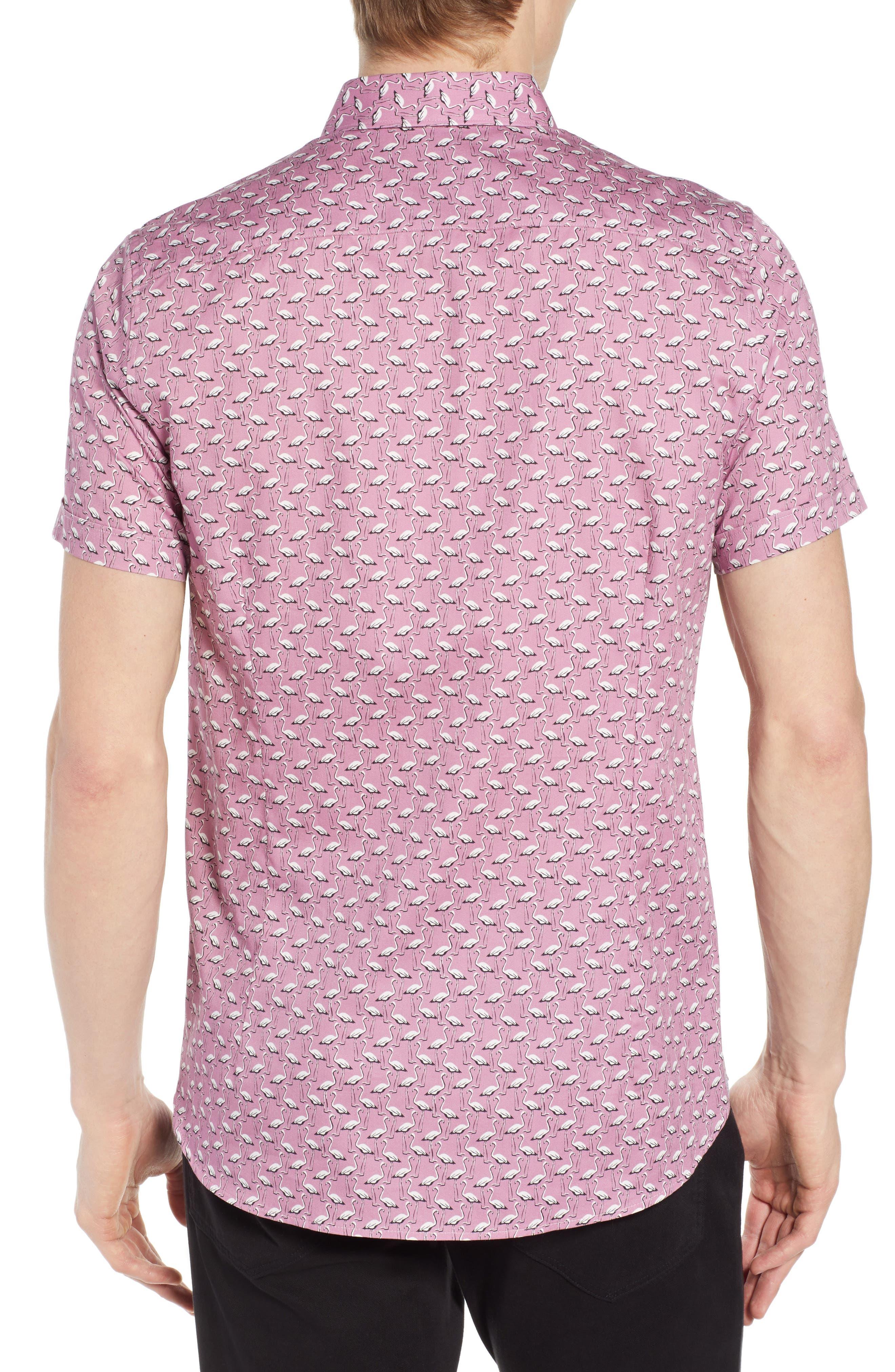 Norflam Flamingo Print Sport Shirt,                             Alternate thumbnail 2, color,                             650