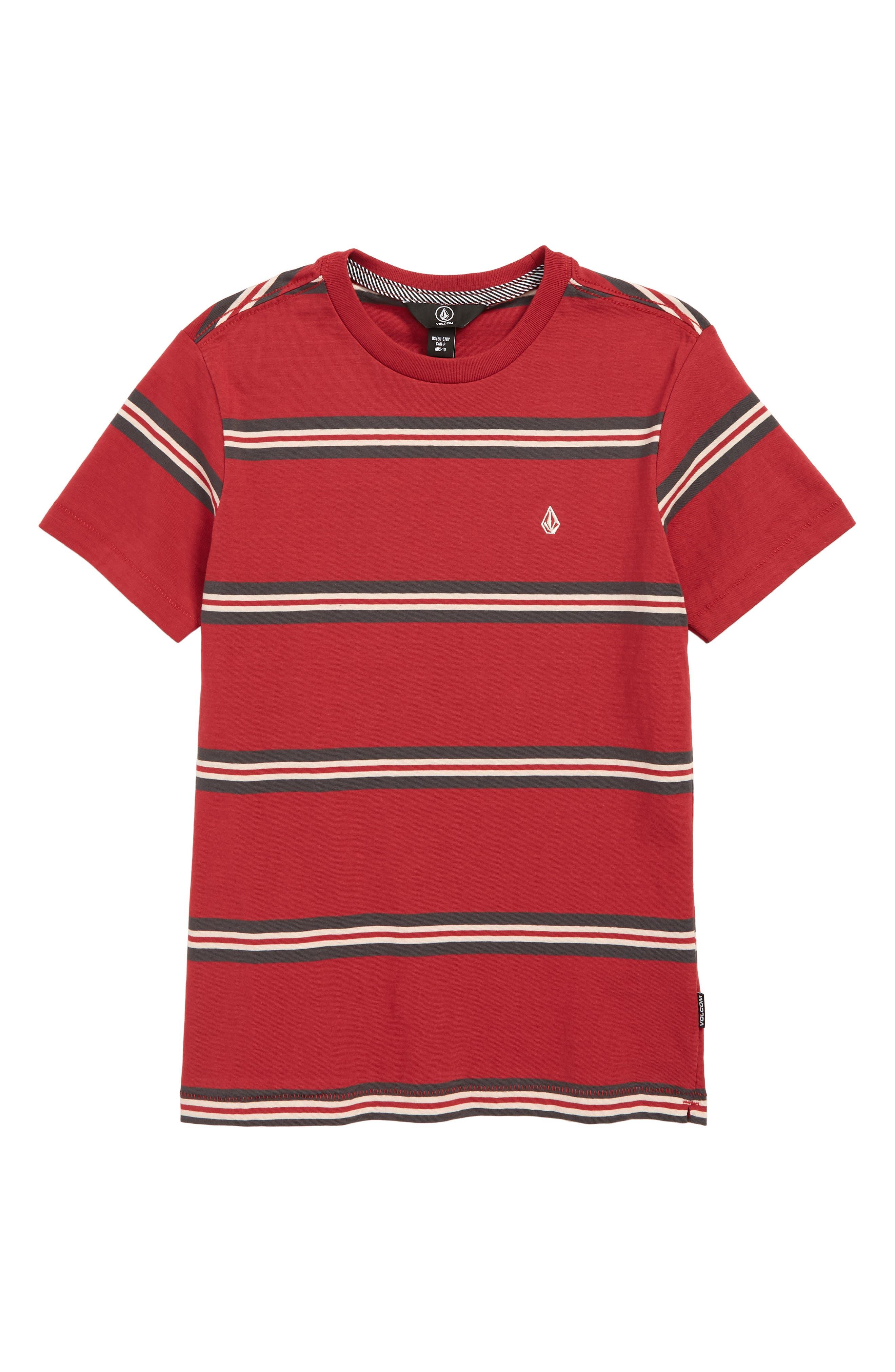 VOLCOM,                             Beauville Stripe T-Shirt,                             Main thumbnail 1, color,                             BURGUNDY