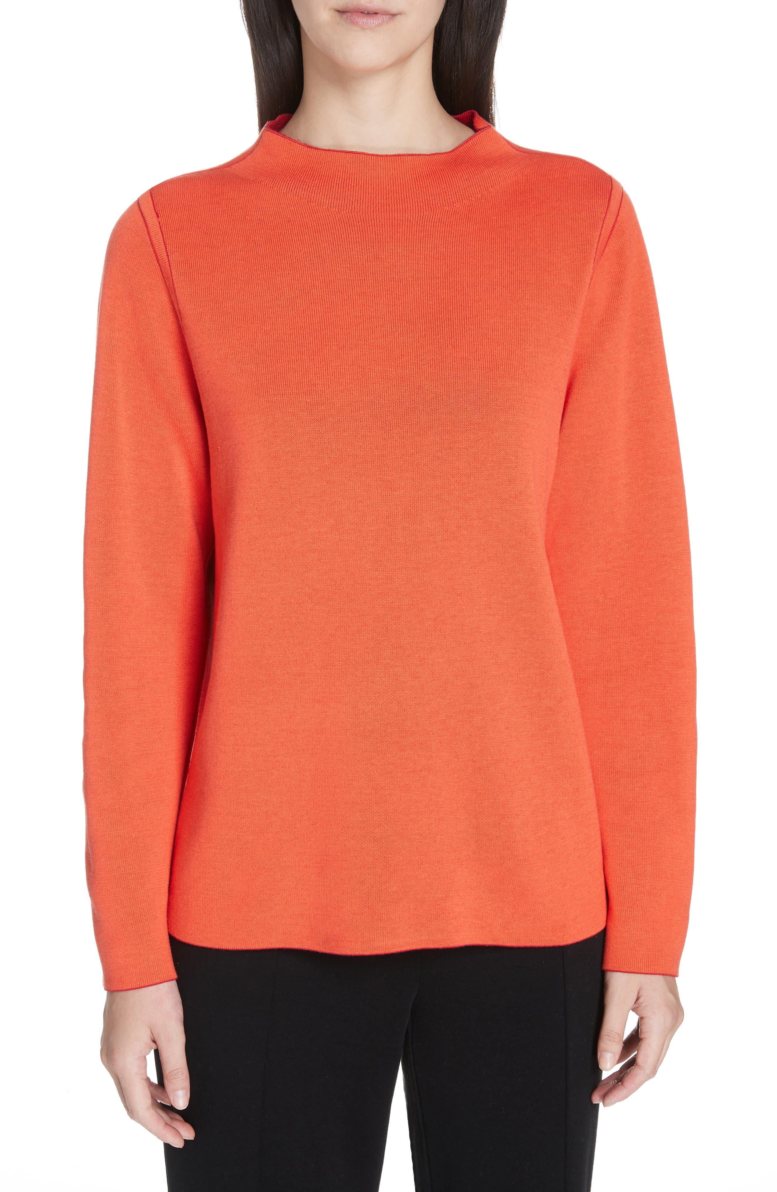 EILEEN FISHER, Reversilble Silk Blend Sweater, Alternate thumbnail 2, color, LACQUER