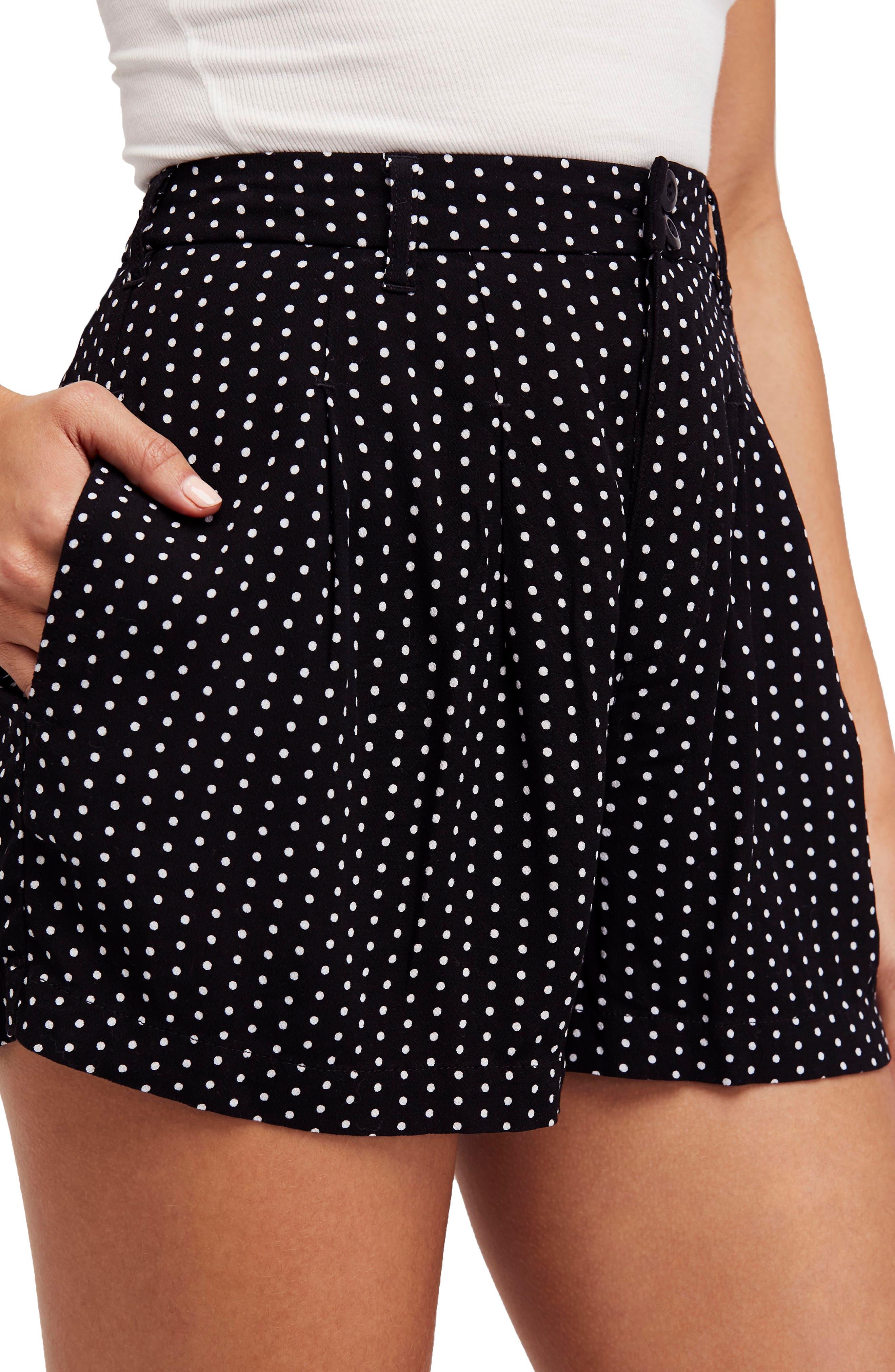 Magdalene Polka Dot Pleated Shorts,                         Main,                         color, 001