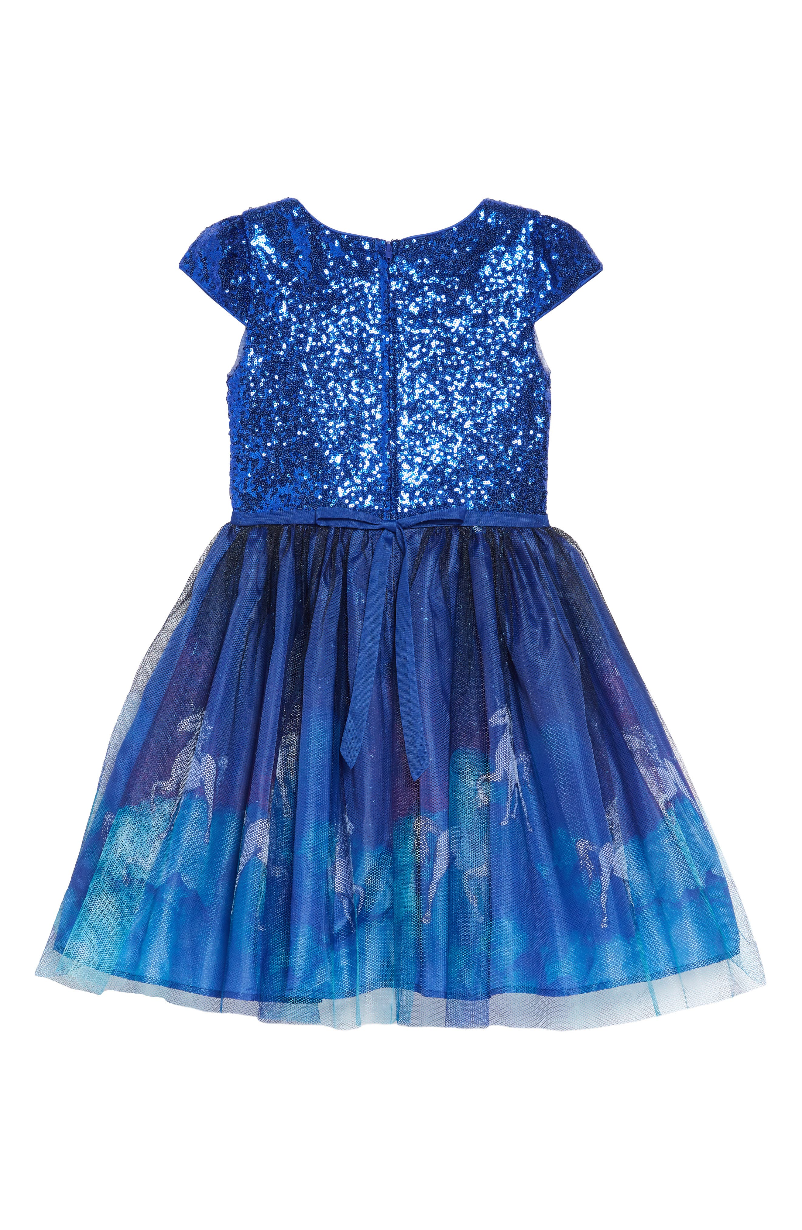 Unicorn Print Mesh & Sequin Dress,                             Alternate thumbnail 2, color,                             BLUE