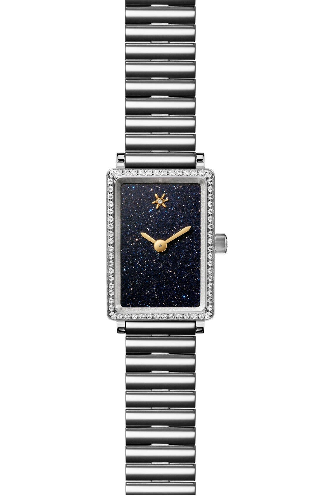 The Shirley Fromer Diamond Bracelet Watch, 18mm x 26mm,                             Main thumbnail 1, color,                             SILVER/ SANDSTONE