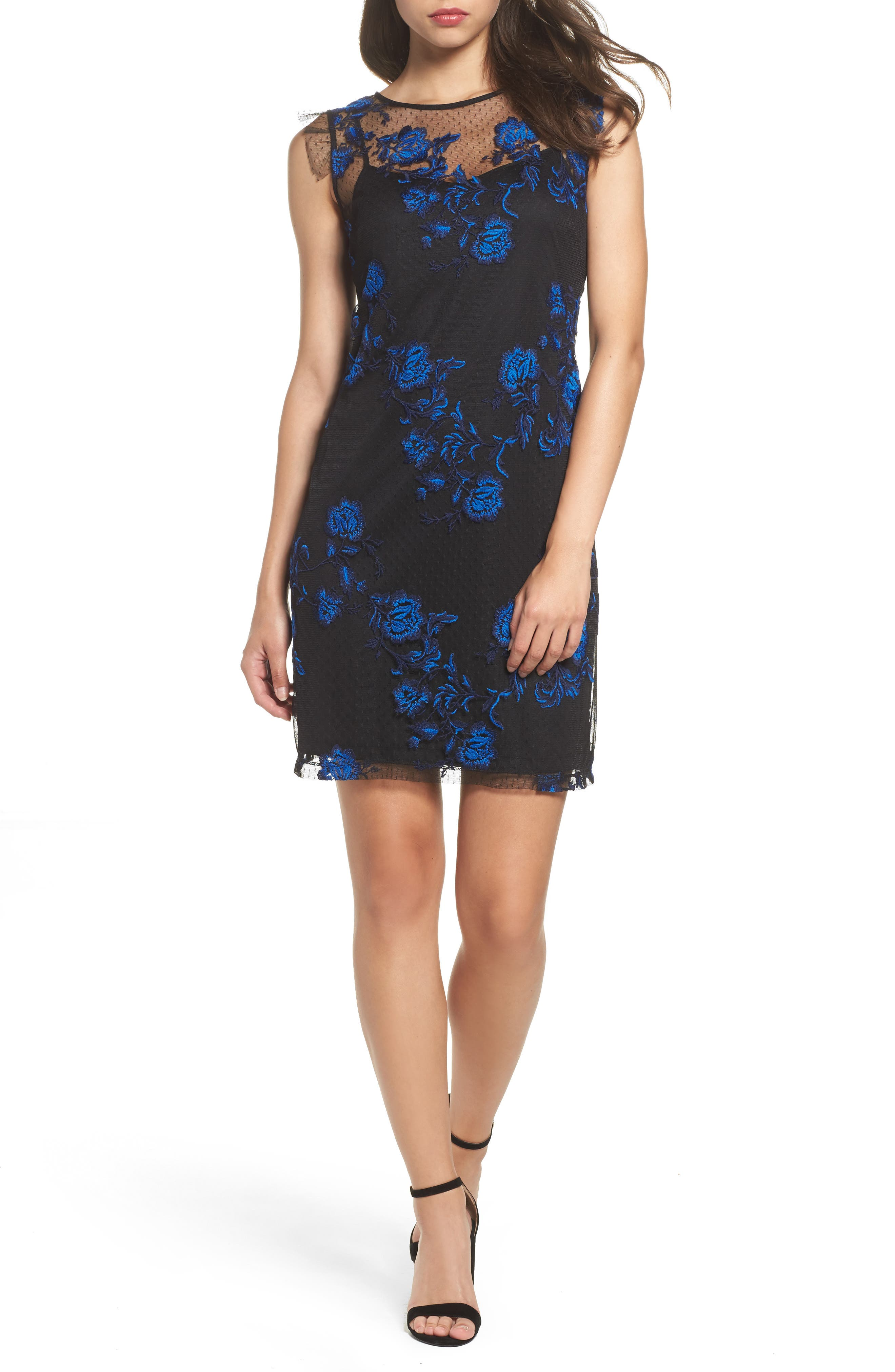 Embroidered Mesh Sheath Dress,                         Main,                         color, 010