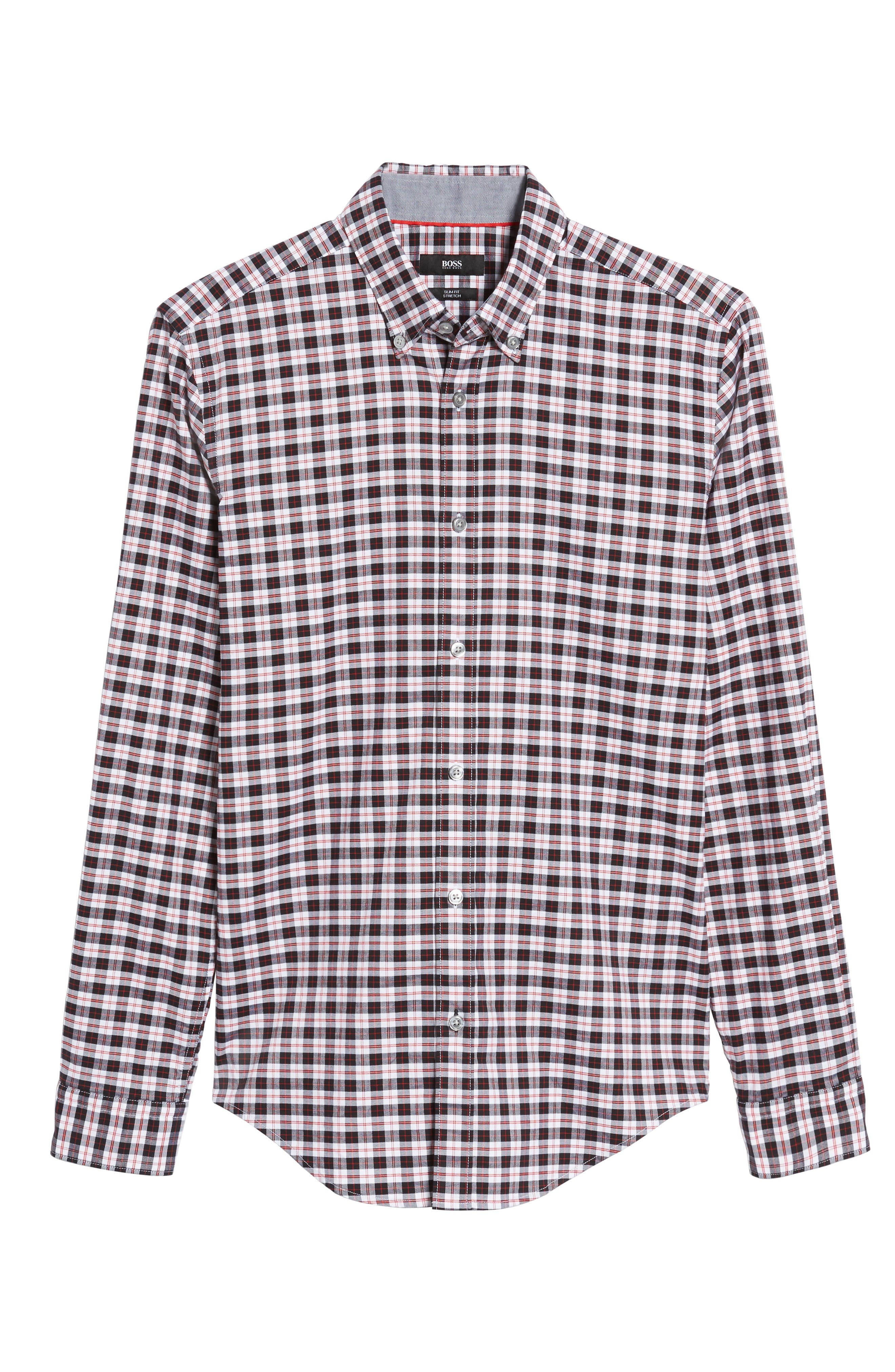 Rod Trim Fit Check Oxford Sport Shirt,                             Alternate thumbnail 6, color,                             001