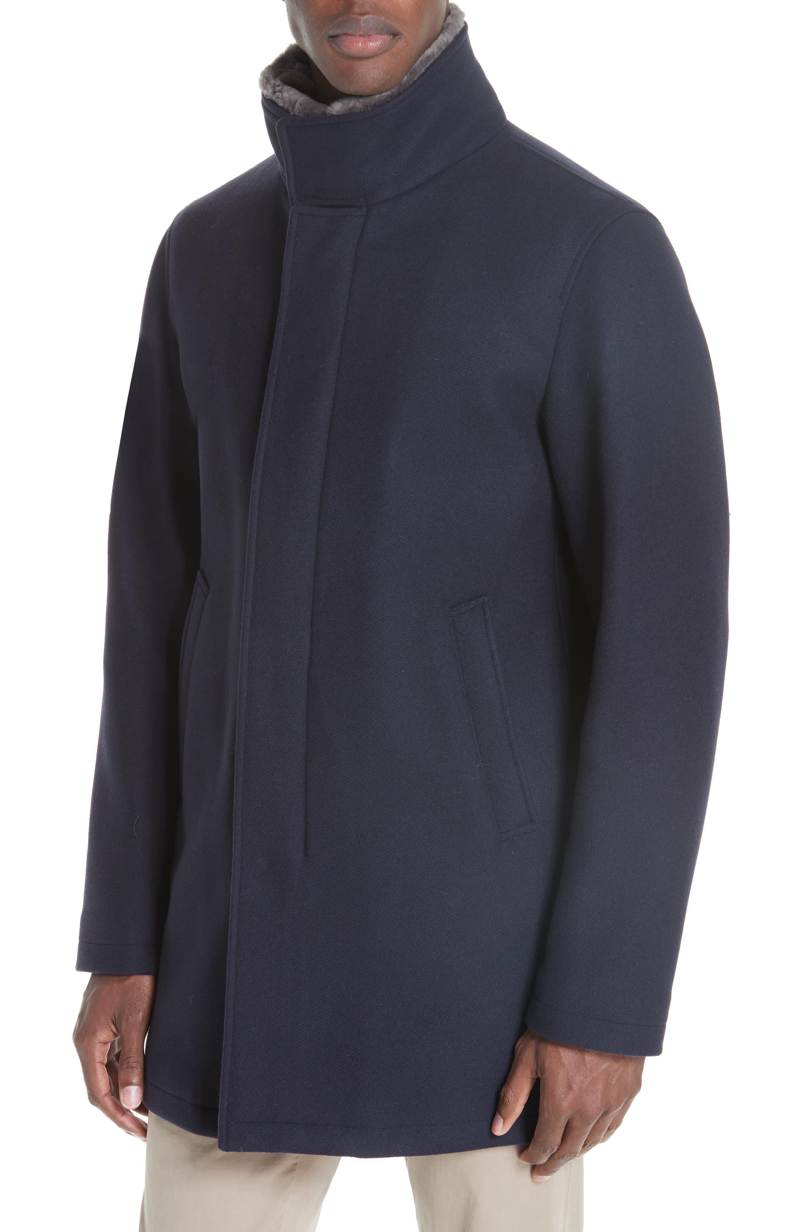 Genuine Beaver Fur Collar Wool Blend Coat,                             Alternate thumbnail 4, color,                             NAVY