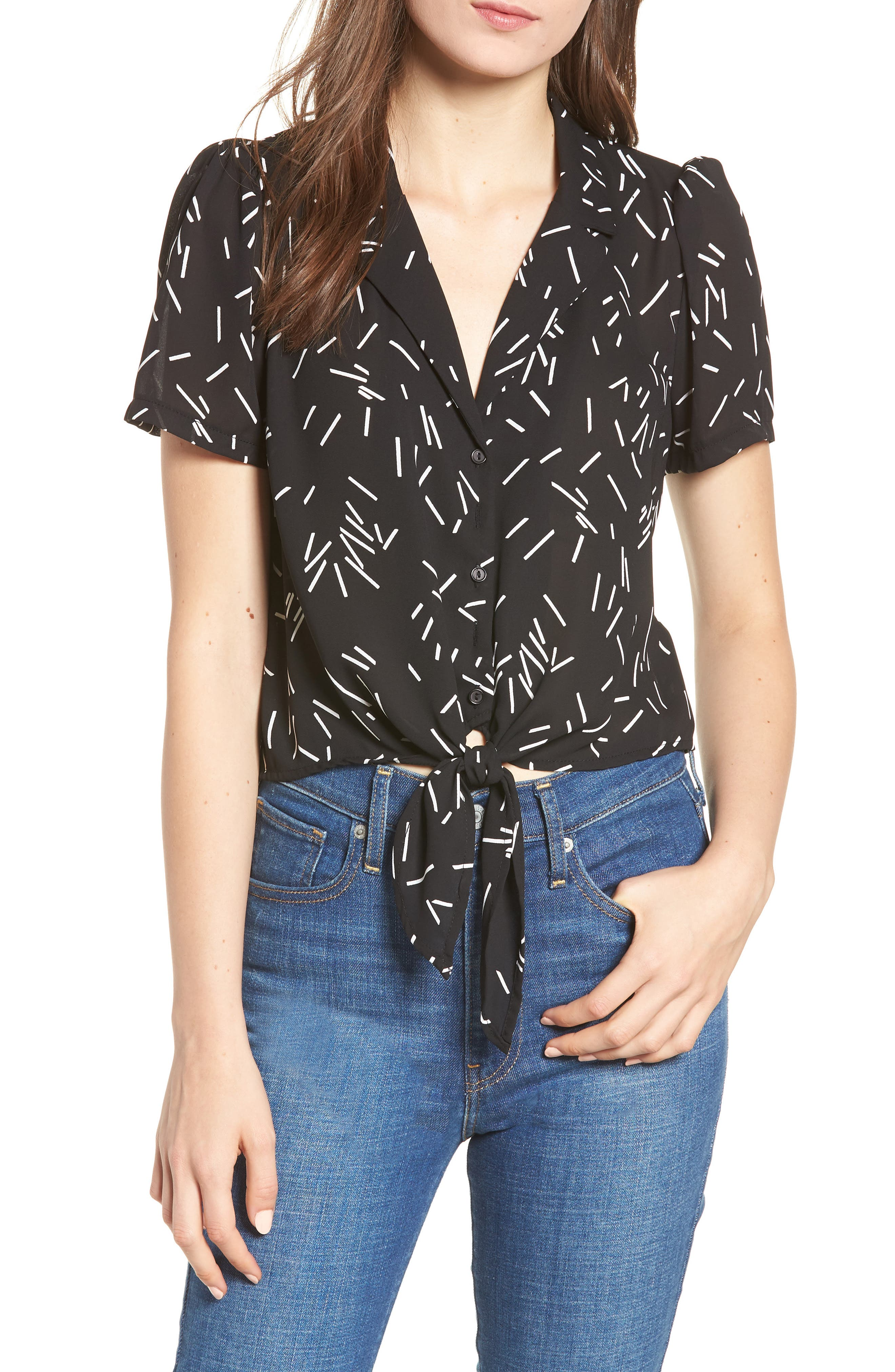 Tie Front Camp Shirt,                         Main,                         color, 001