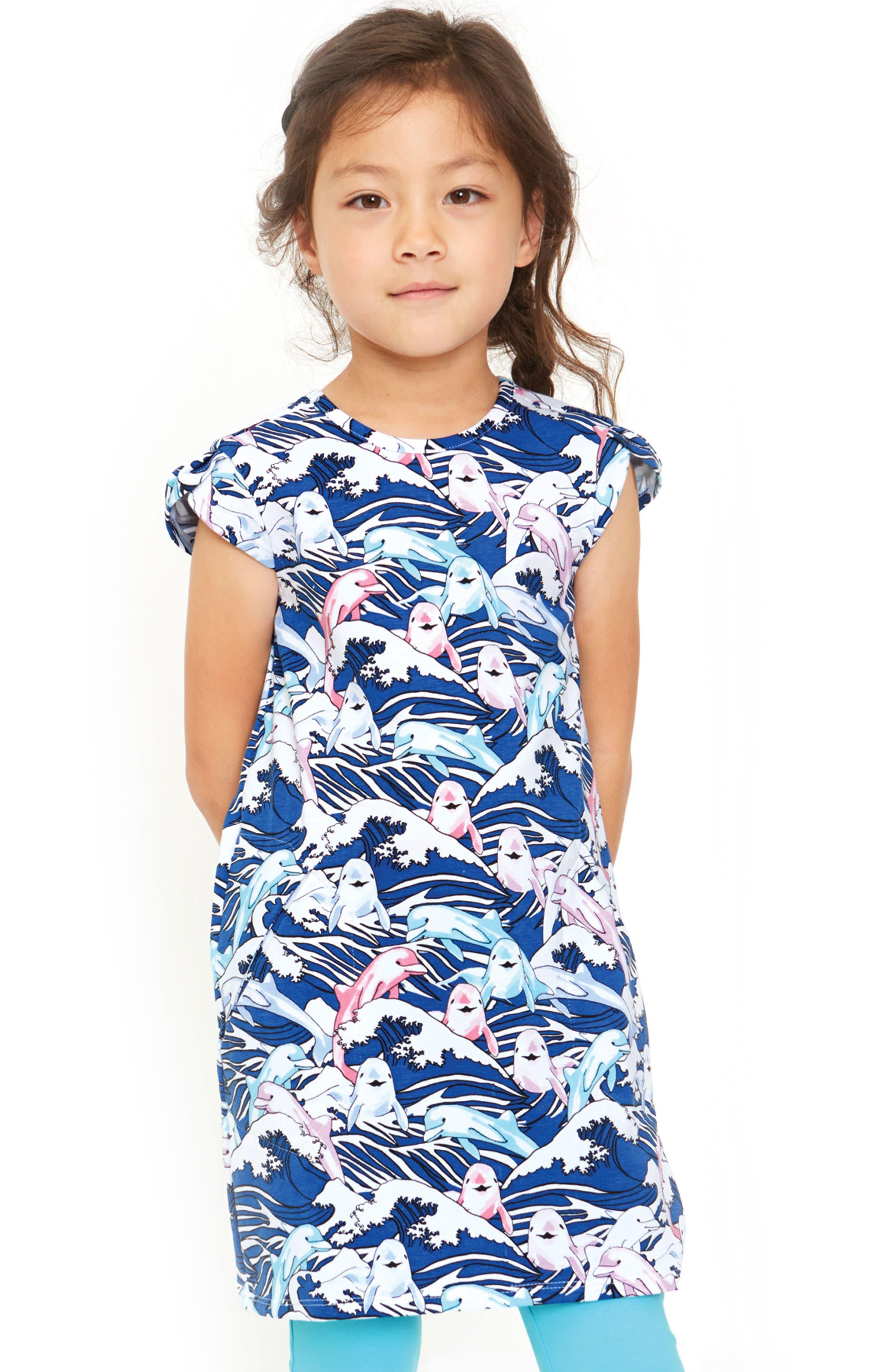 ART & EDEN,                             Ivy Great Waves Print Dress,                             Alternate thumbnail 2, color,                             404