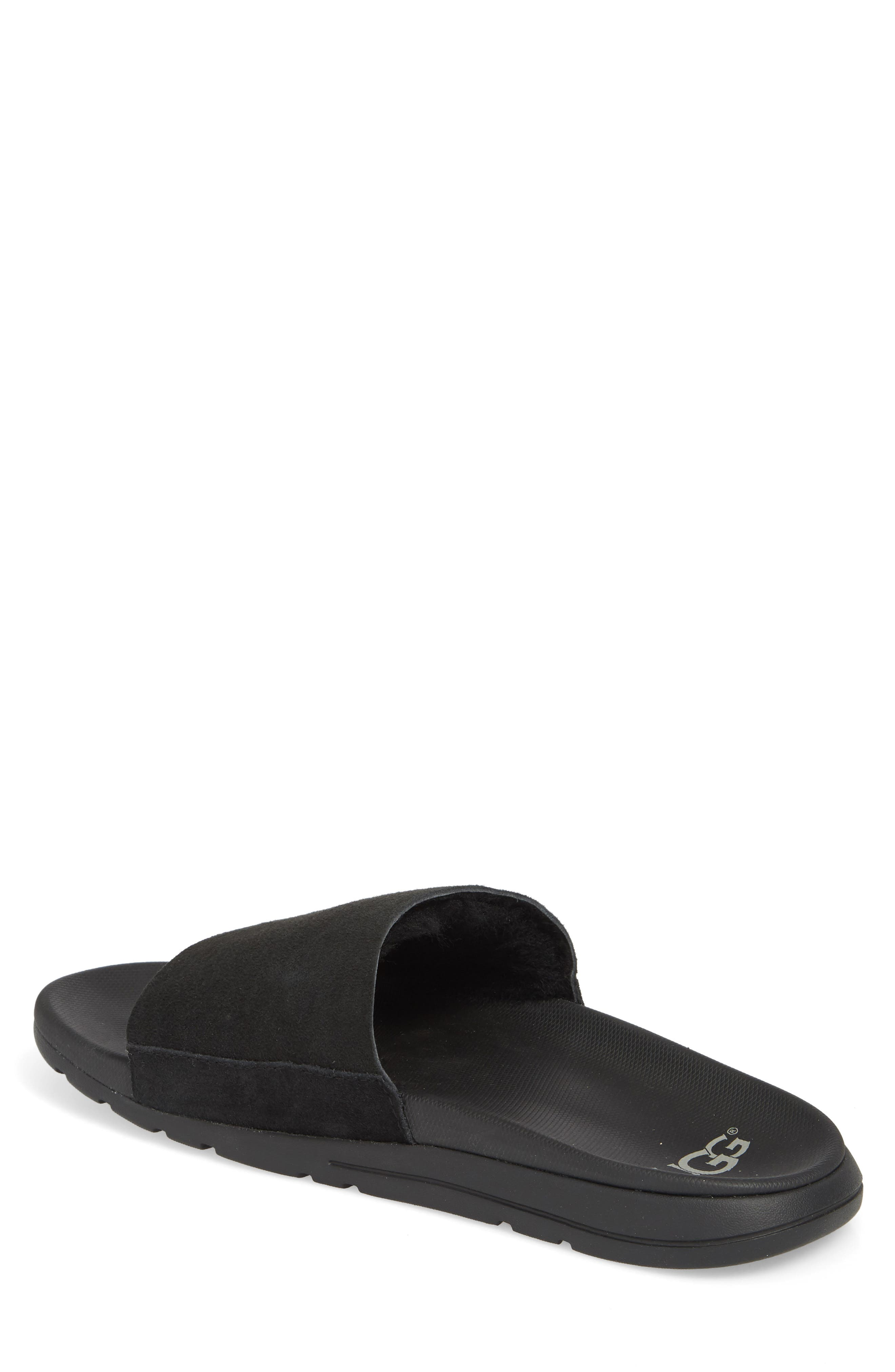Xavier TF Genuine Shearling Slide Sandal,                             Alternate thumbnail 2, color,                             BLACK