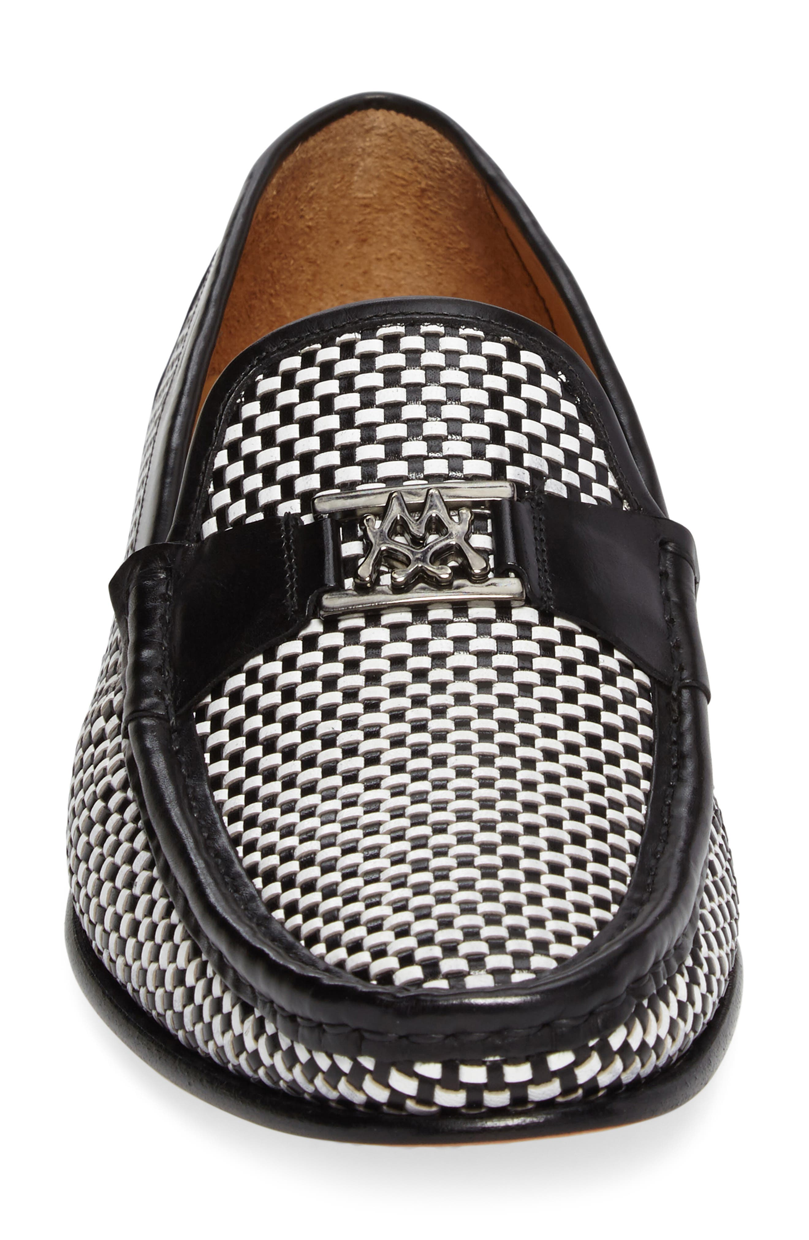 Hallman Woven Loafer,                             Alternate thumbnail 4, color,                             BLACK/ WHITE LEATHER