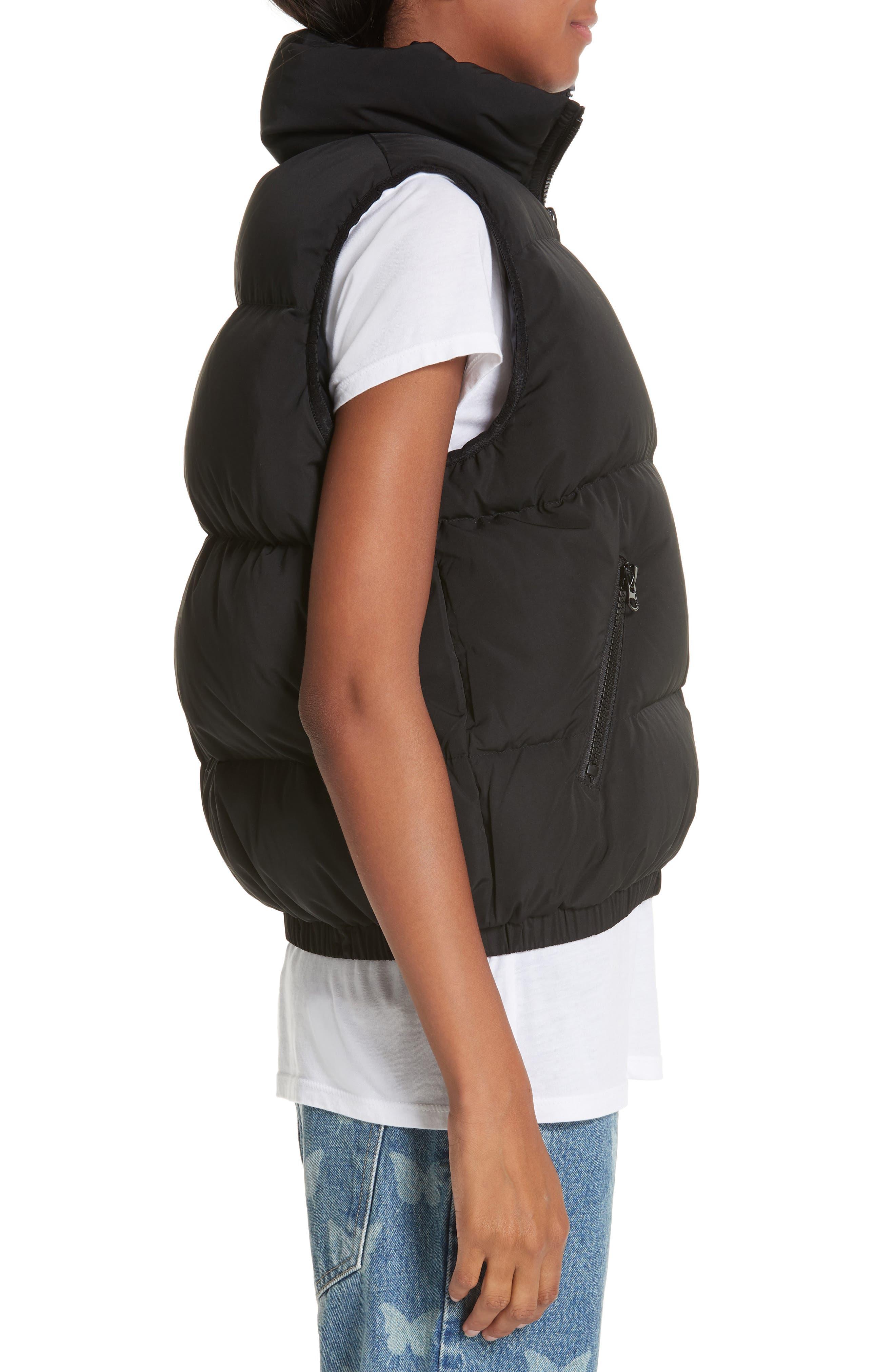 Primrose Down Puffer Vest,                             Alternate thumbnail 3, color,                             BLACK