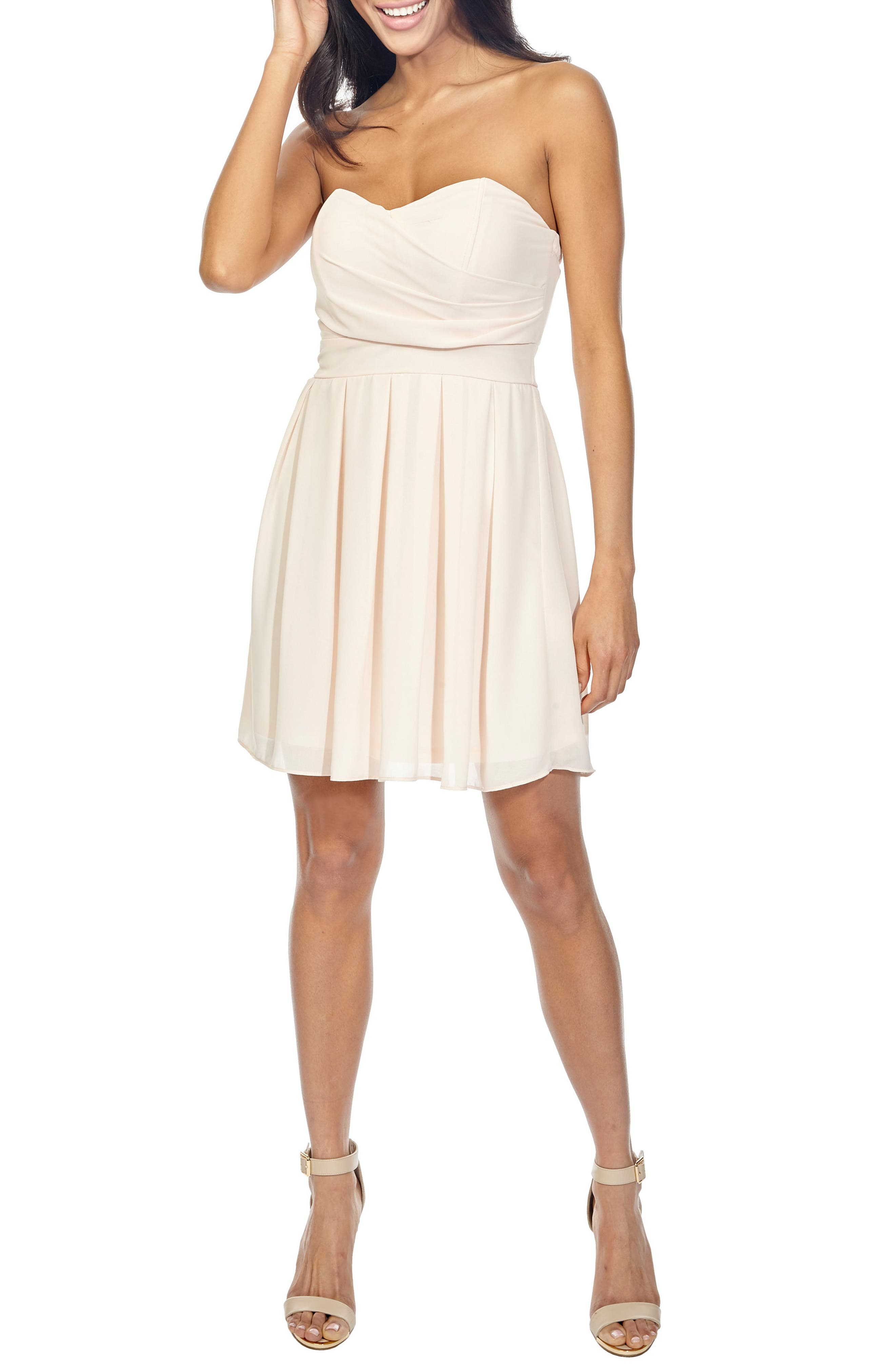 Tfnc Elida Pleat Skirt Strapless Fit & Flare Dress, Beige