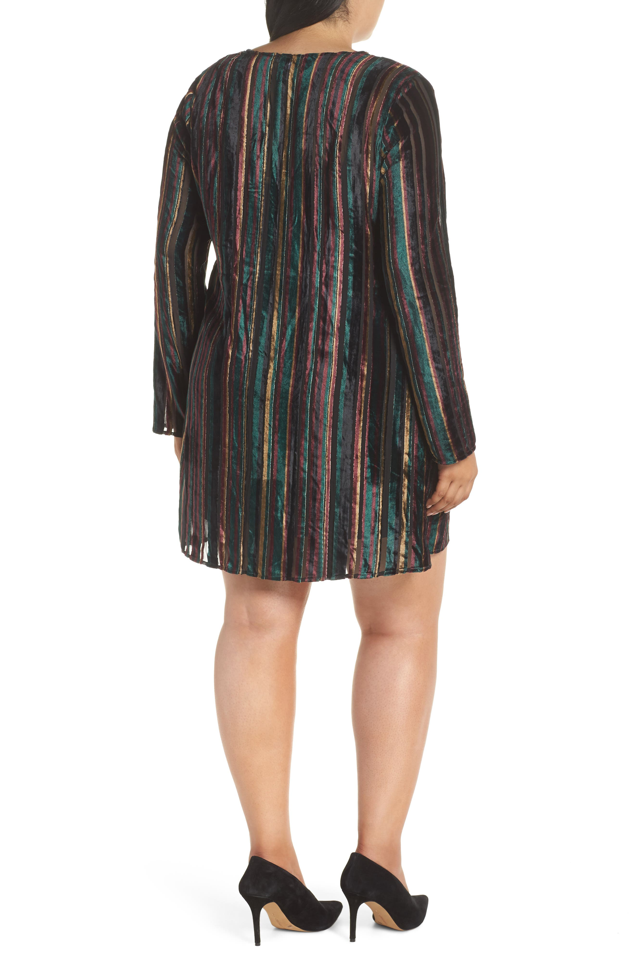 Velvet Burnout Stripe Dress,                             Alternate thumbnail 2, color,                             BLACK VELVET STRIPE
