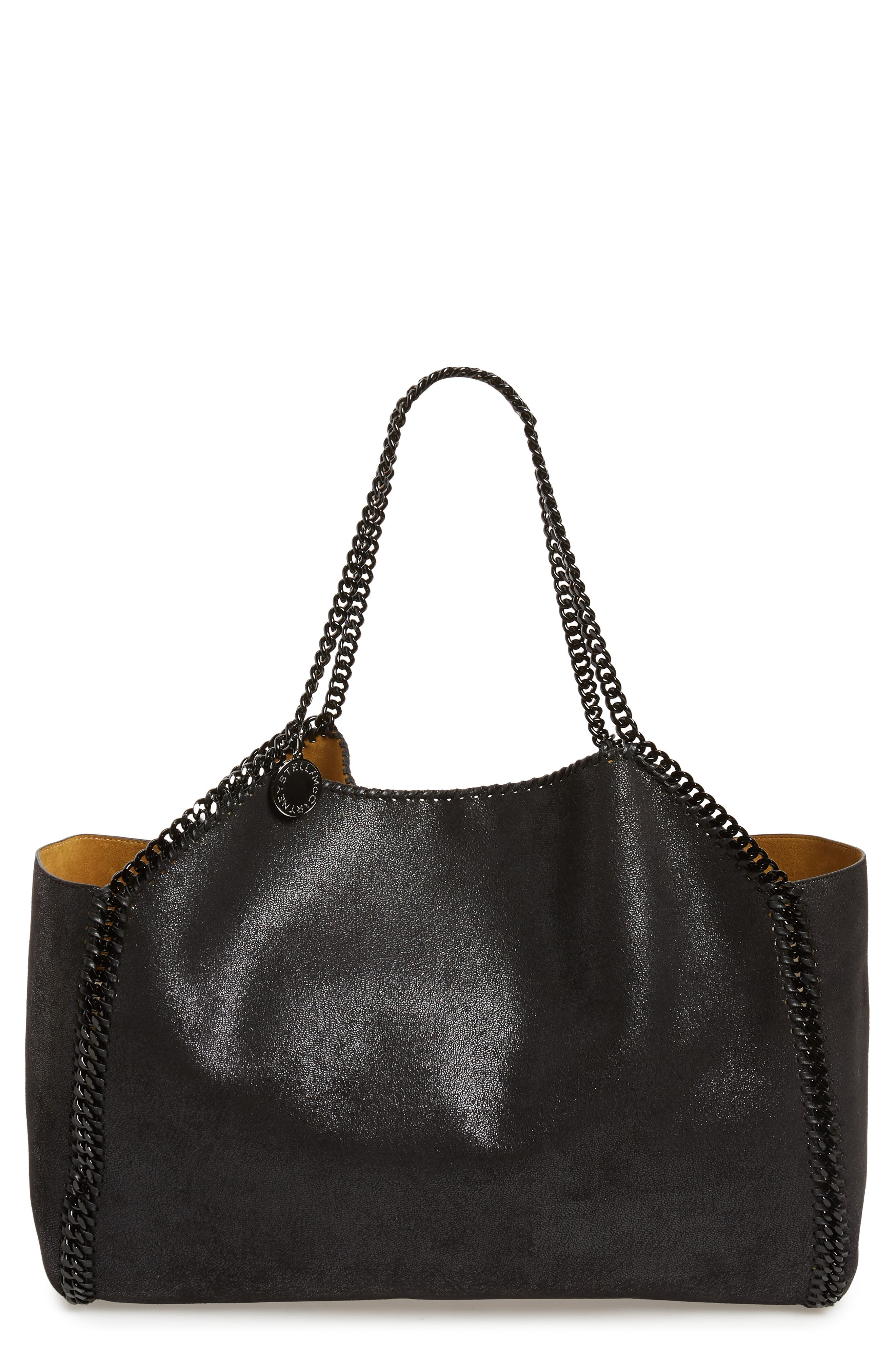 Reversible Faux Leather Tote,                             Main thumbnail 1, color,                             BLACK