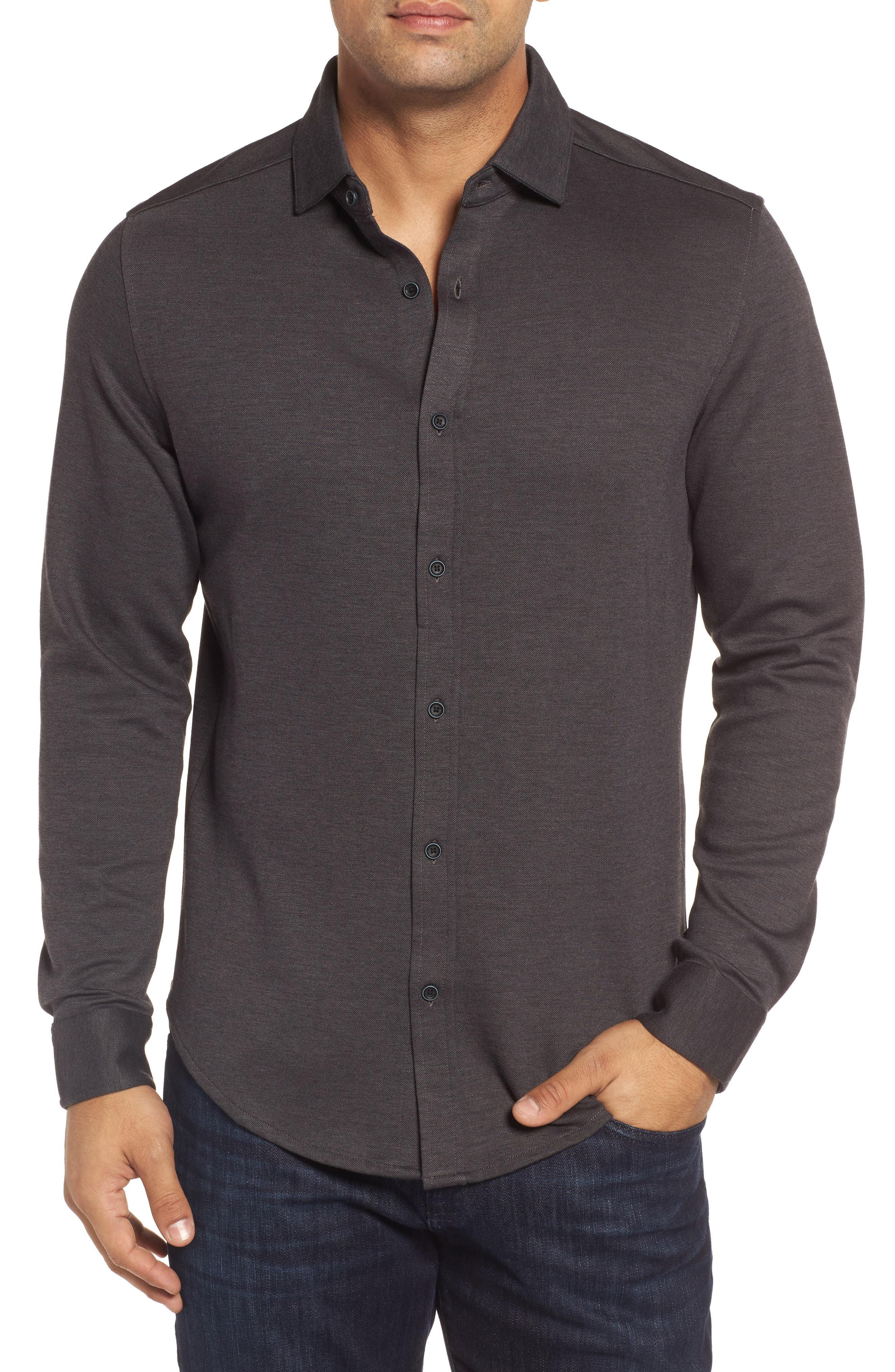 Classic Fit Heathered Knit Sport Shirt,                             Main thumbnail 1, color,                             020