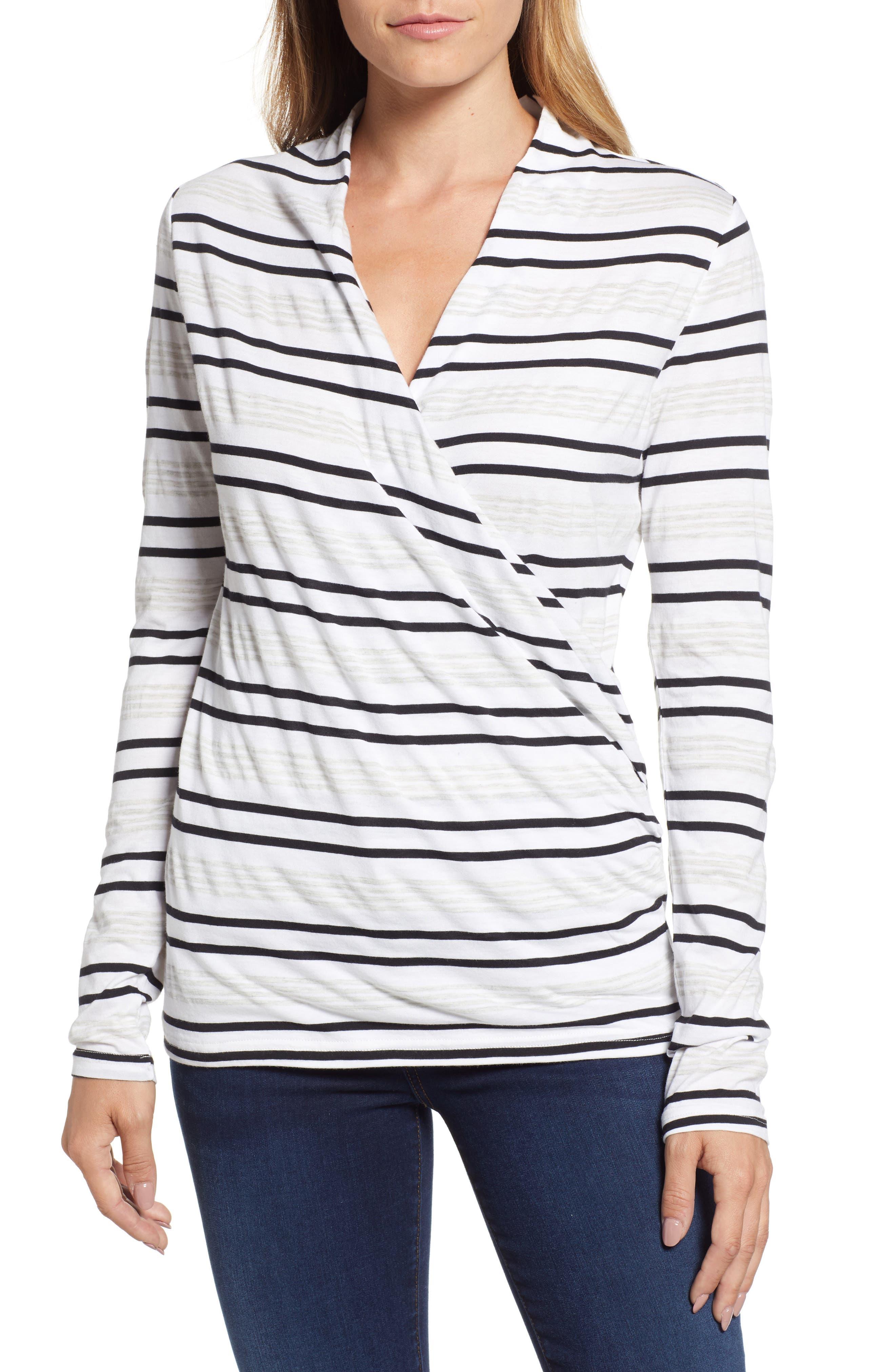 Faux Wrap Stripe Top,                         Main,                         color, NEUTRAL COMBO
