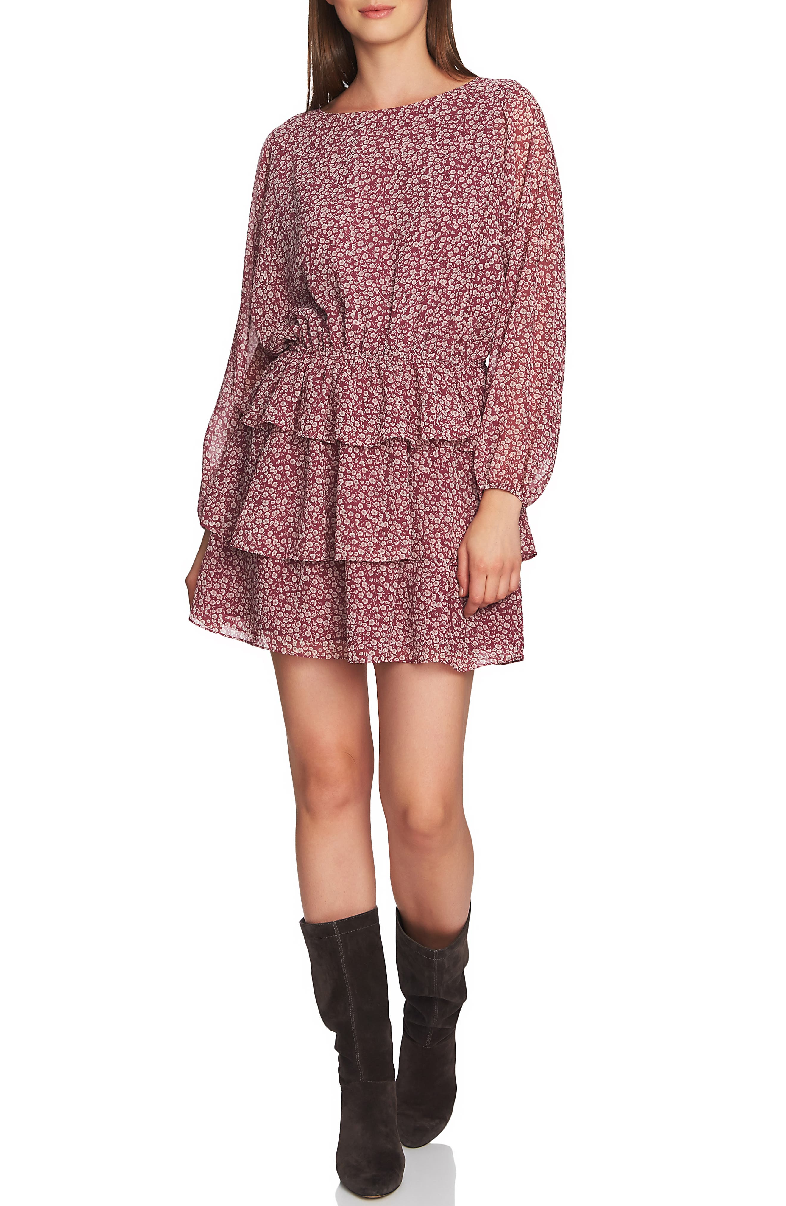 1.state Wildflower Tiered Ruffle Minidress, Pink