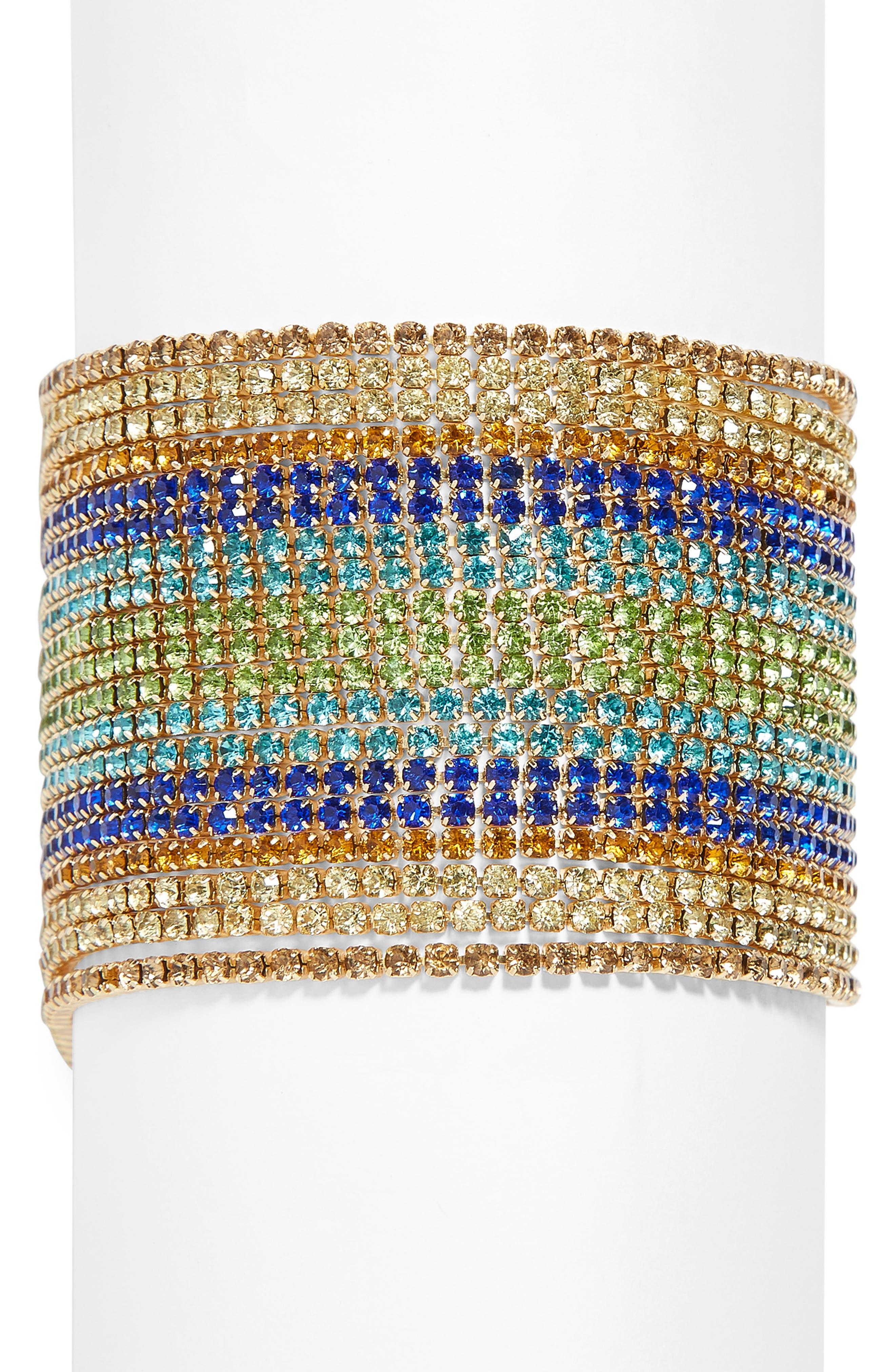Multi Strand Crystal Bracelet,                             Main thumbnail 1, color,                             BLUE