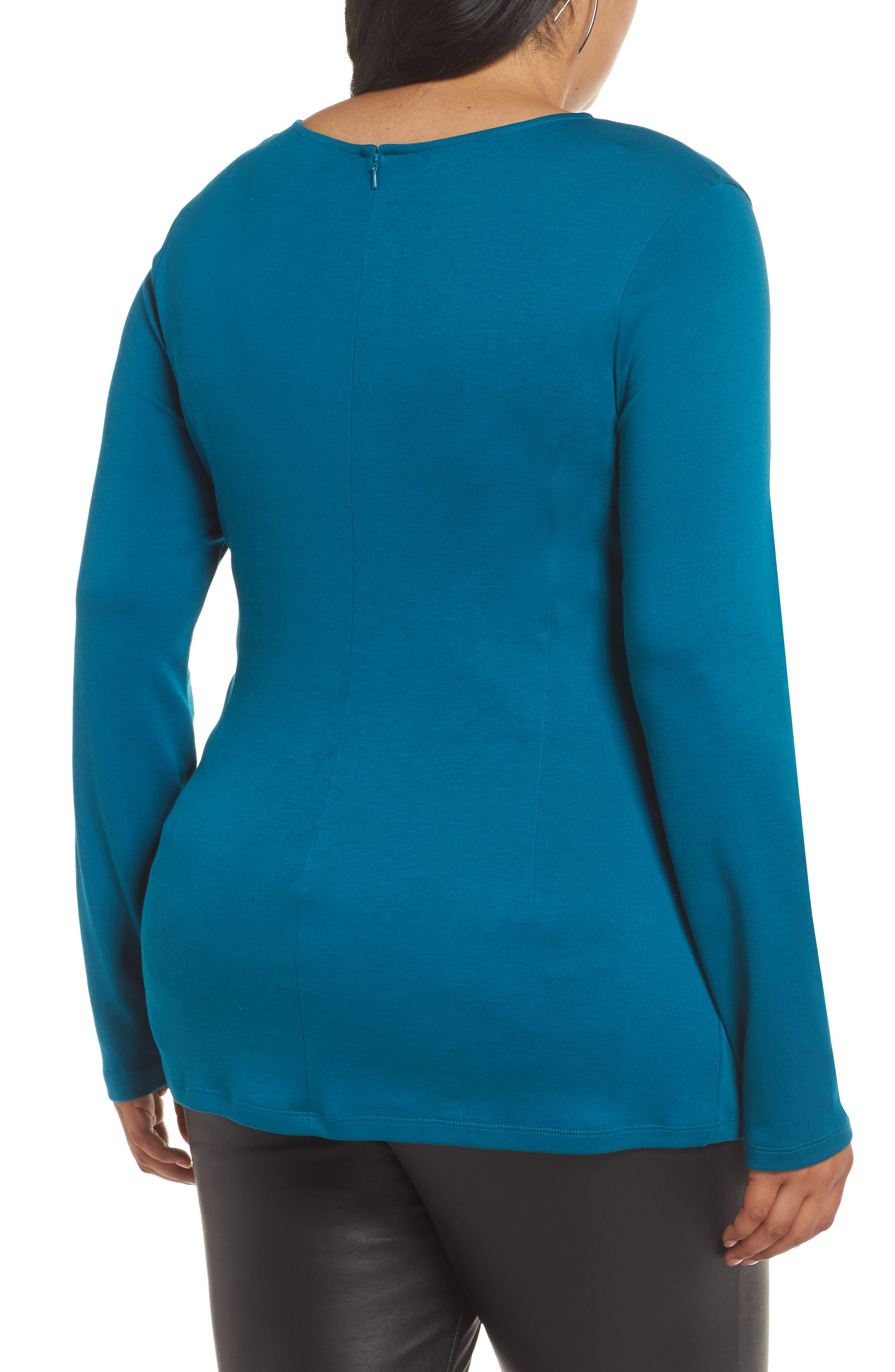 Drape Front Ponte Top,                             Alternate thumbnail 2, color,                             TEAL GLOSS